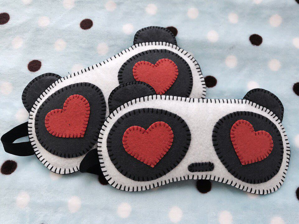 маскадлясна ручнаяработа подарок bogiboo сердце фетр сувенир handmade защита панда защитаотсолнца