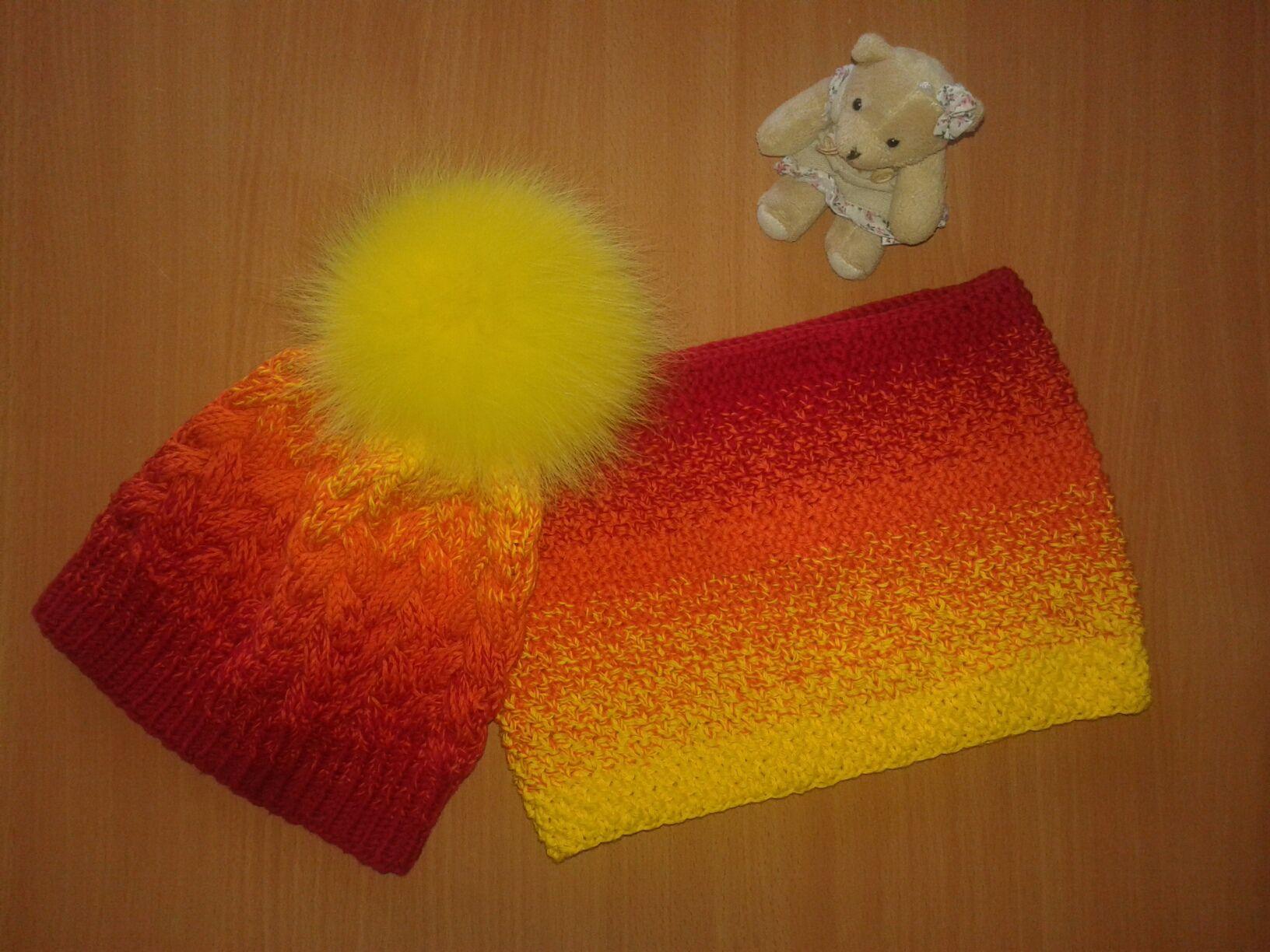 вязаниеспицами вязание шапкаиснуд комплектдлядевочки ручнаяработа