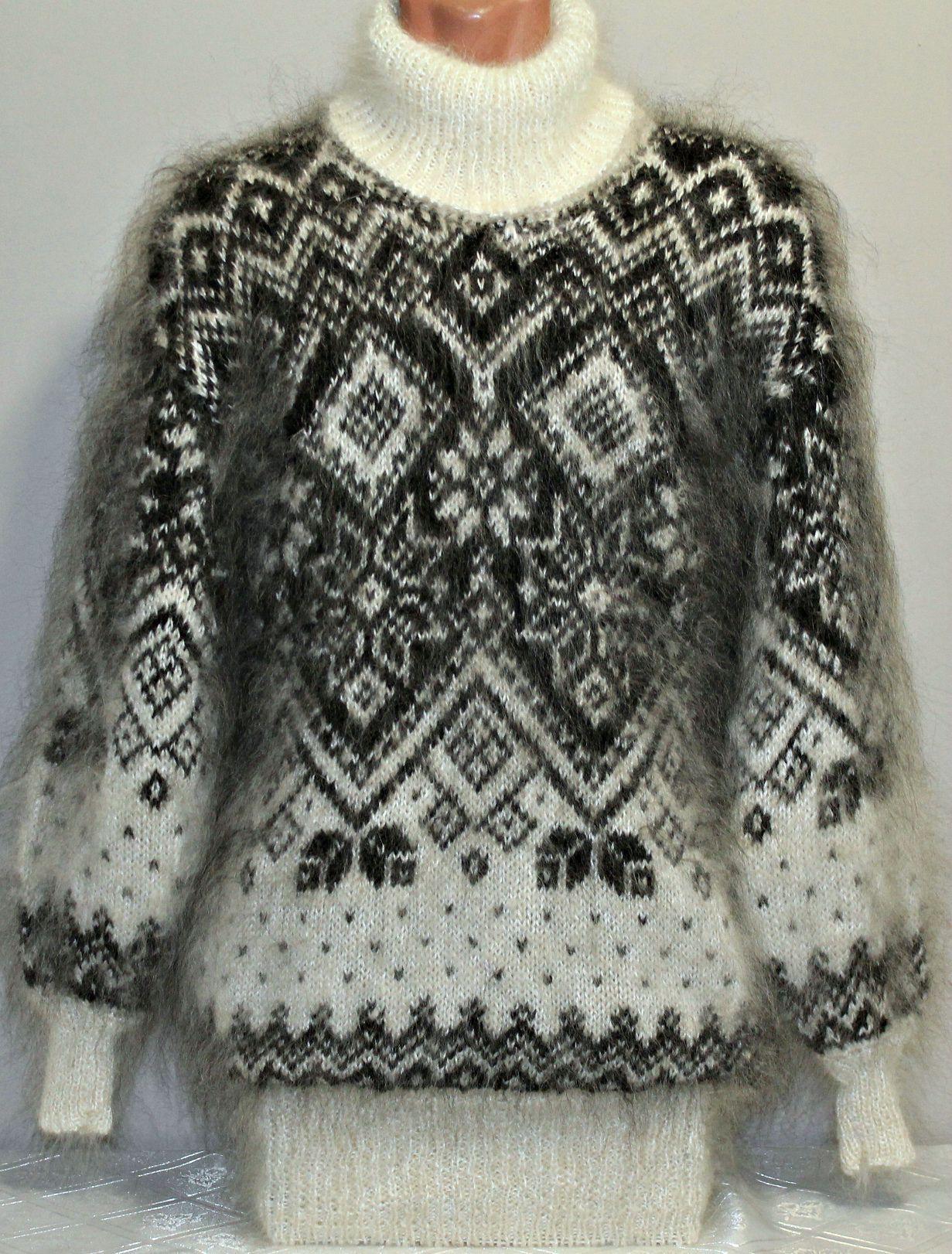 вязанный вязание свитер узоры норвежские пряжа козья пух козий вручную