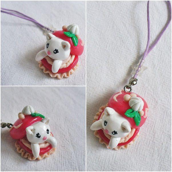 ручнаяработа розовый брелок кошка handmade макарун белый полимернаяглина лавкалисицы