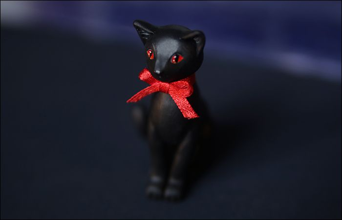 кот бант кошка sculpey красный черный акрил лента подарок