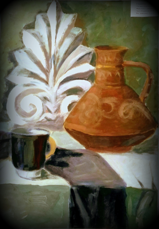 предметы натюрморт ваза керамическая живопись гуашь античные краснофигурная гипсовая розетка х картина драпировки