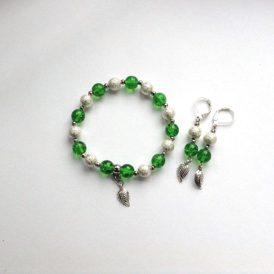 зеленый браслет серьги бусины комплект handmade украшения бижутерия