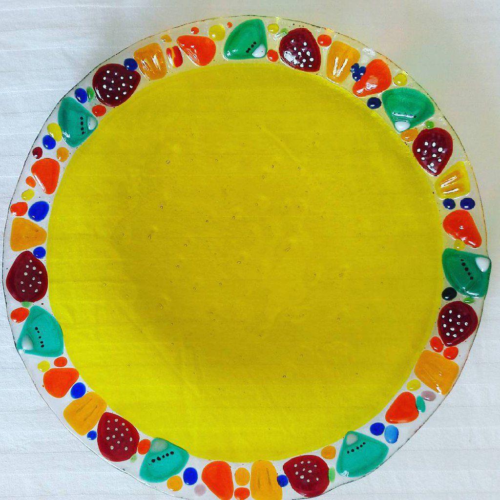 тарелка ручной фьюзинга посуда витражное фьюзинг фруктов клубничка стекла работы блюдо ручная для в из работа подарок фрукты стекло