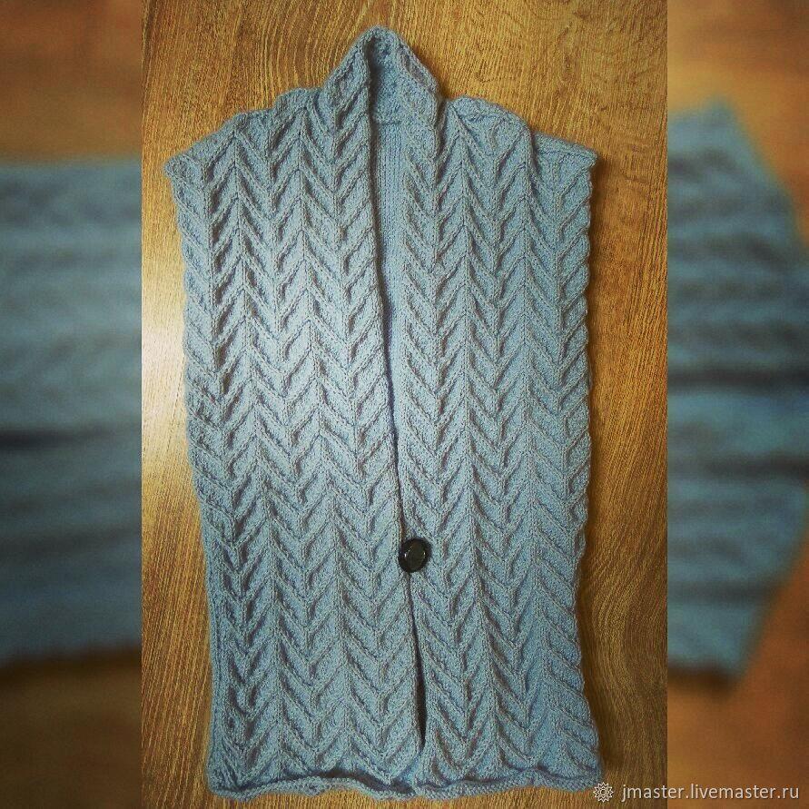 жилетка спицами жилет женский вязанаяжилетка заказ вязание жилеткосами вязаный серебряный