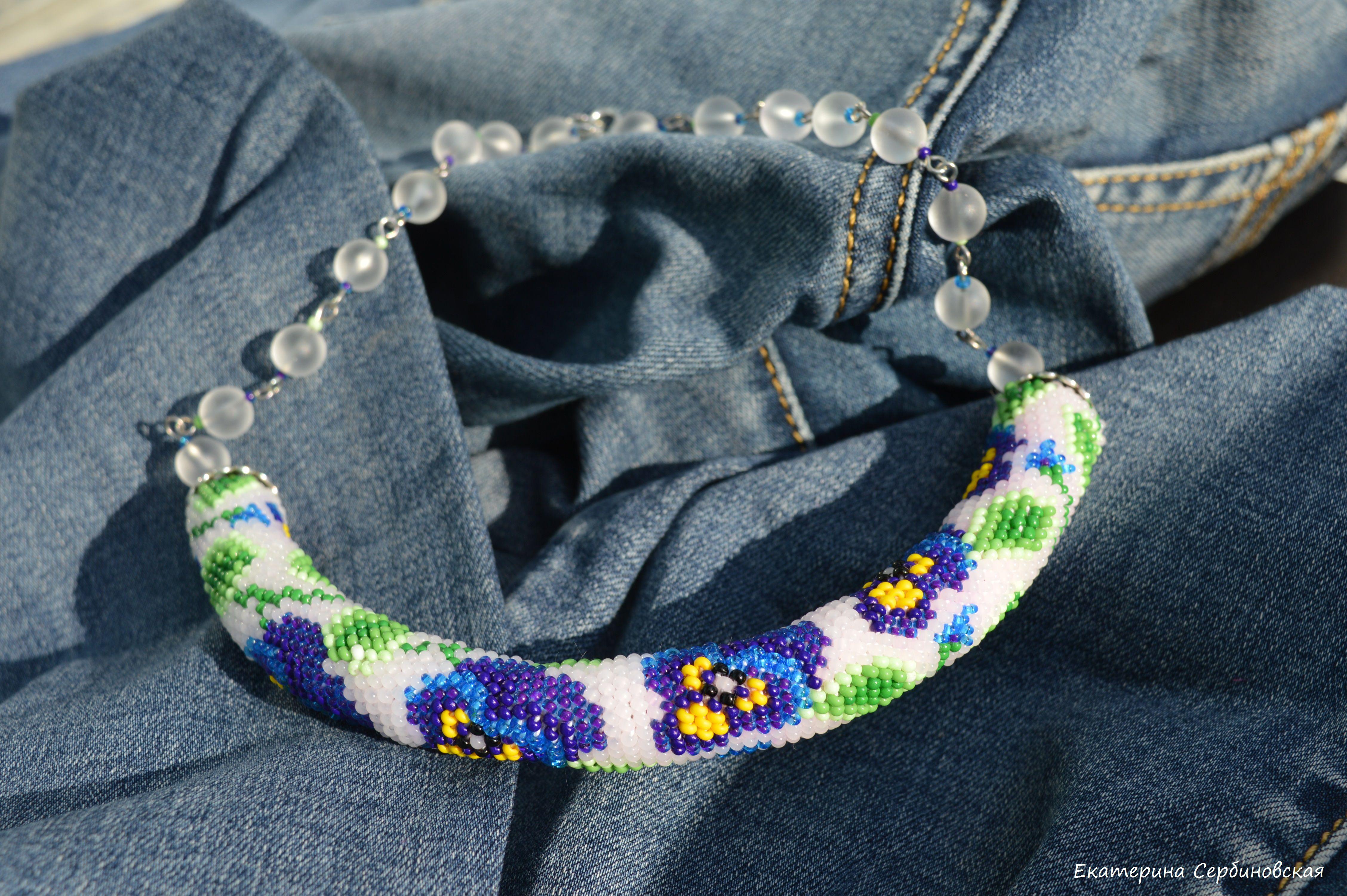 бисерное анютины глазки украшения бисер handmade колье цветы