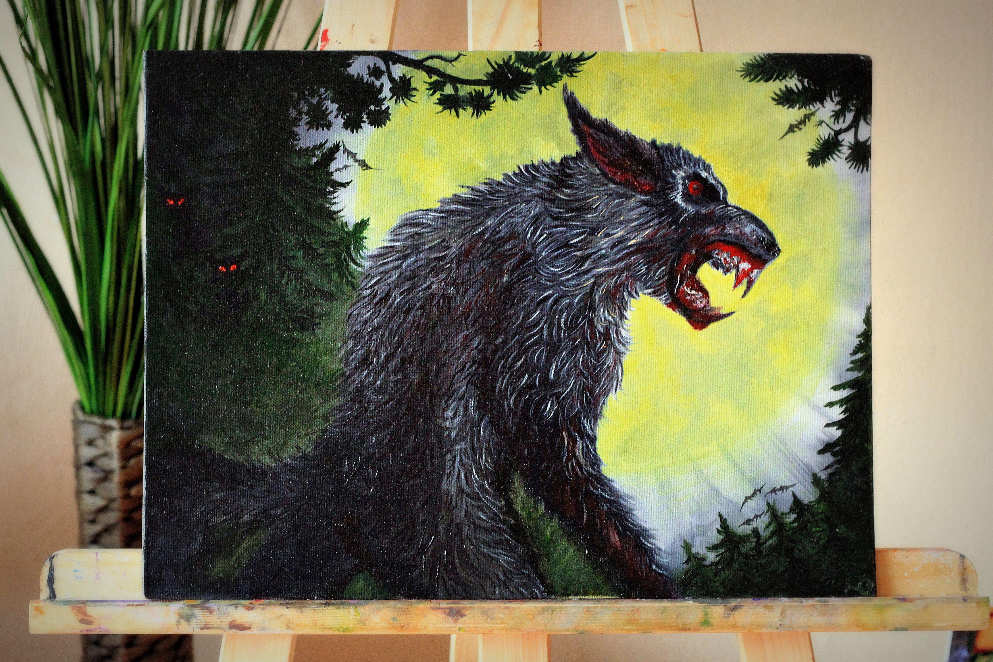 холст ночь луна магия полнолуние оборотень мало кровь лес волки мистика