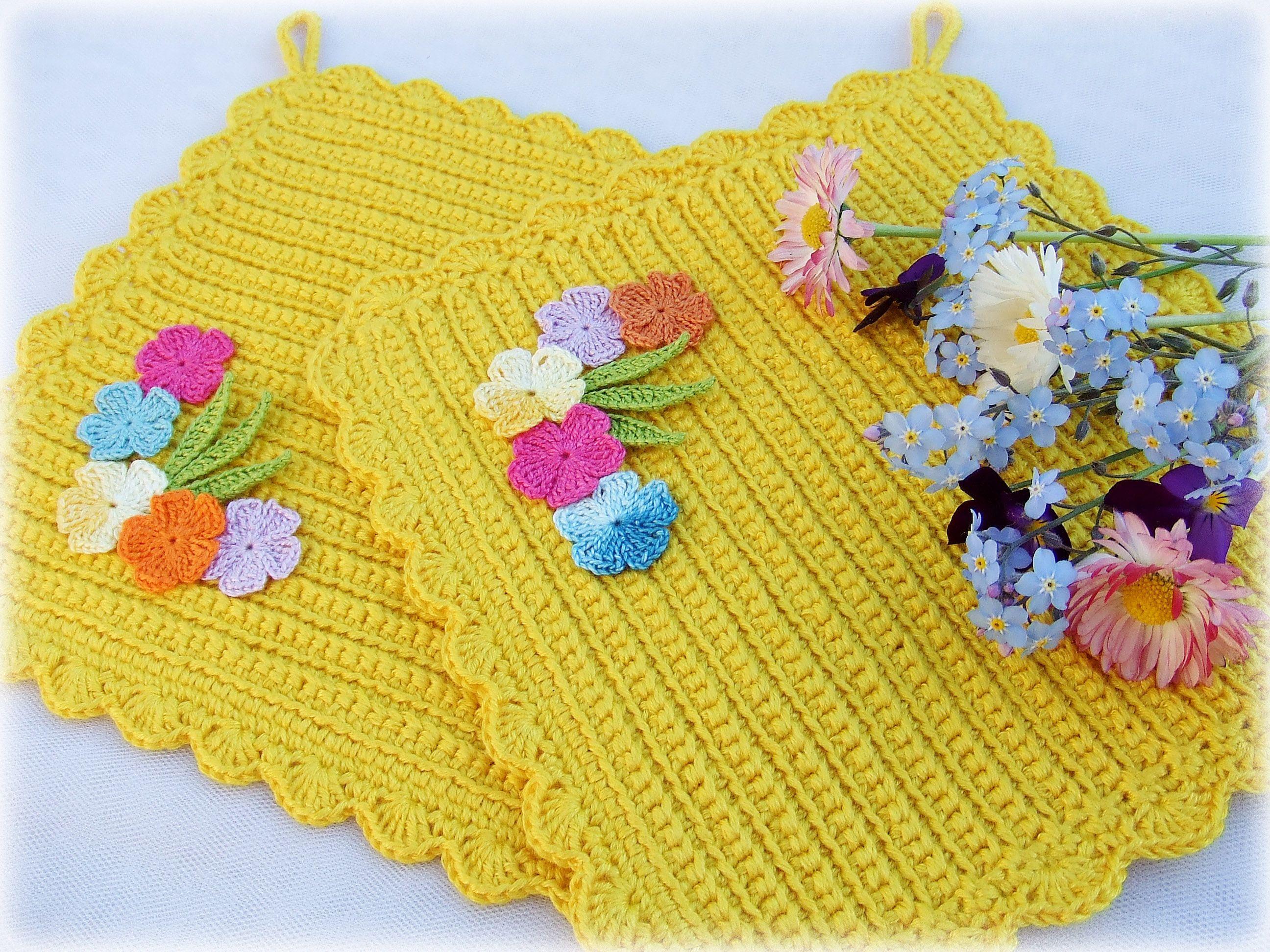 кухонный вязание желтый кухня прихватки крючком