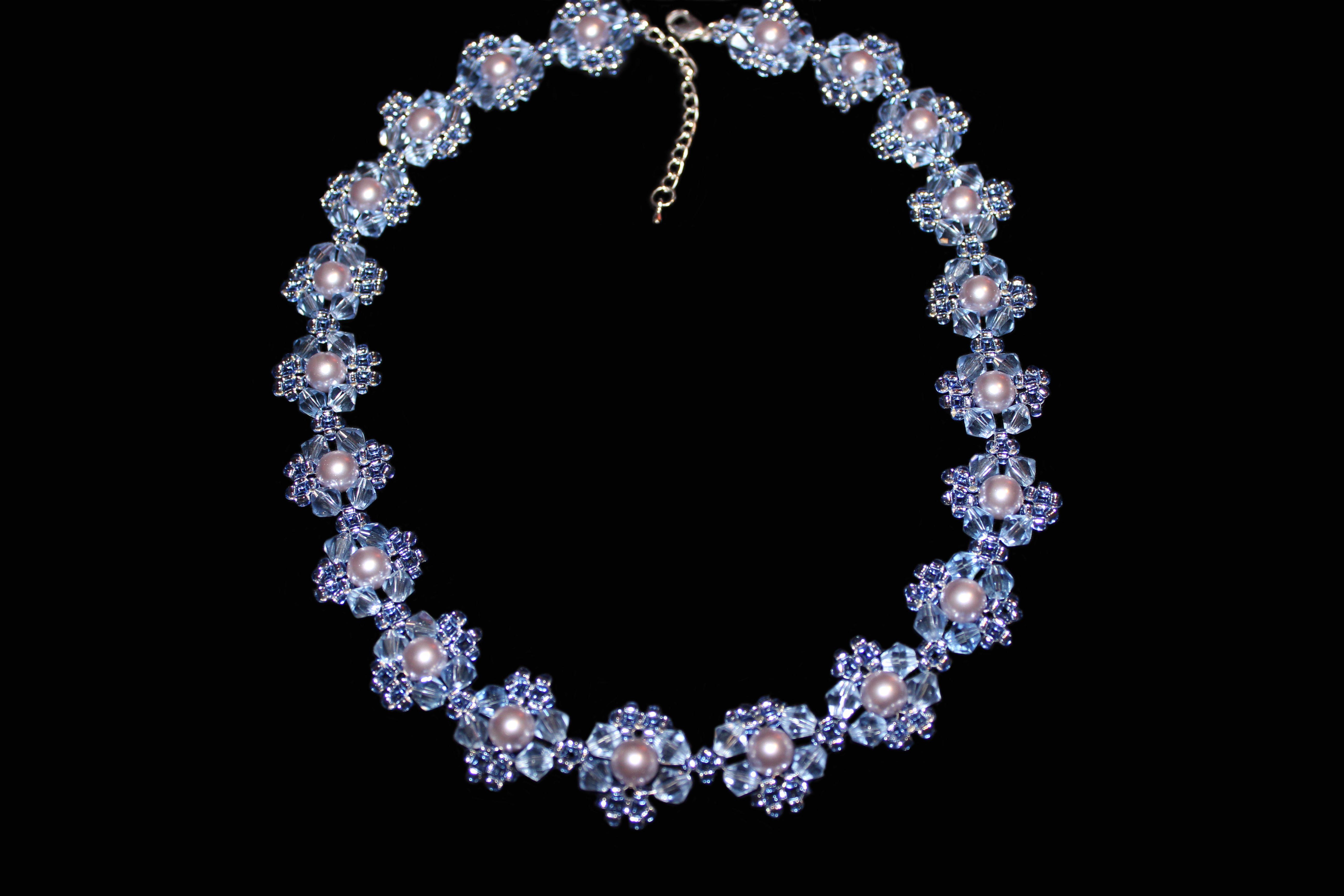 колье синий лавандовый ожерелье жемчуг бисер бусины хрусталь голубой прозрачный украшения бижутерия