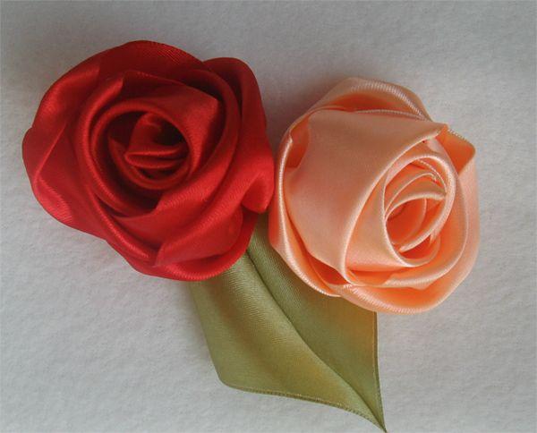 Розы из атласных лент мастер класс 1