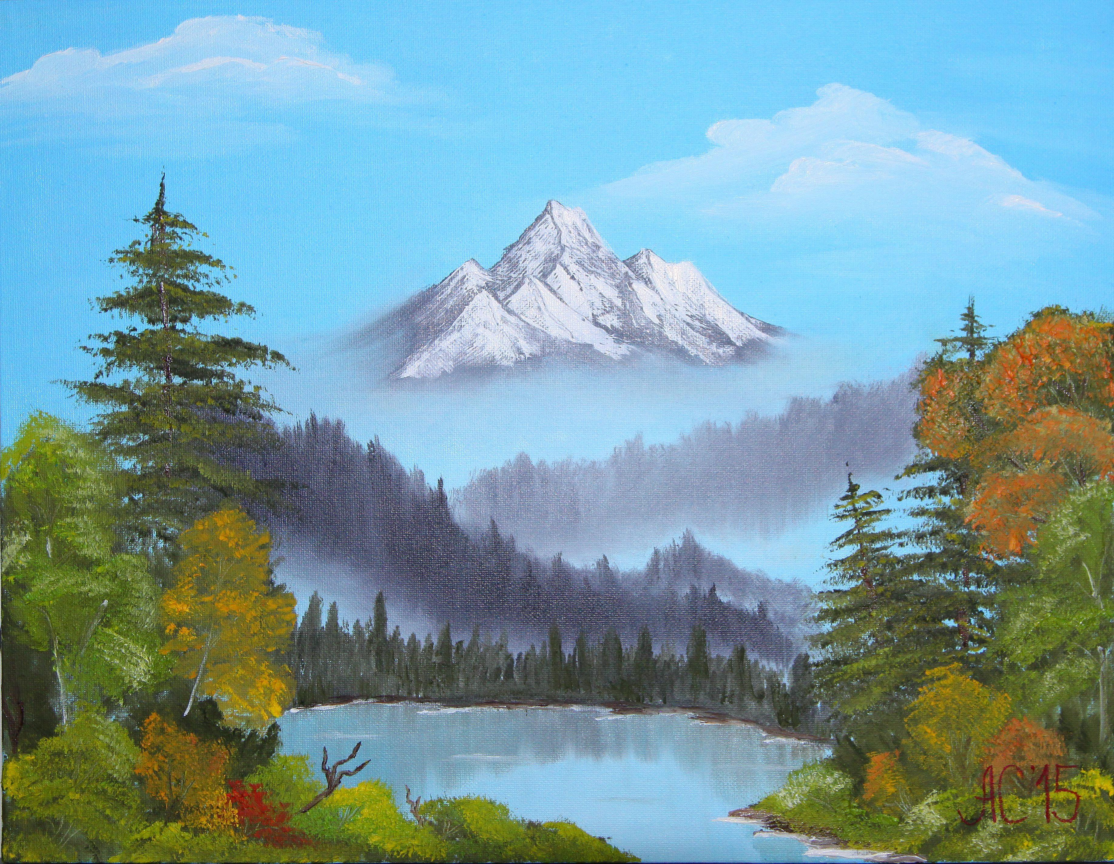картина озеро осень горы живопись пейзаж