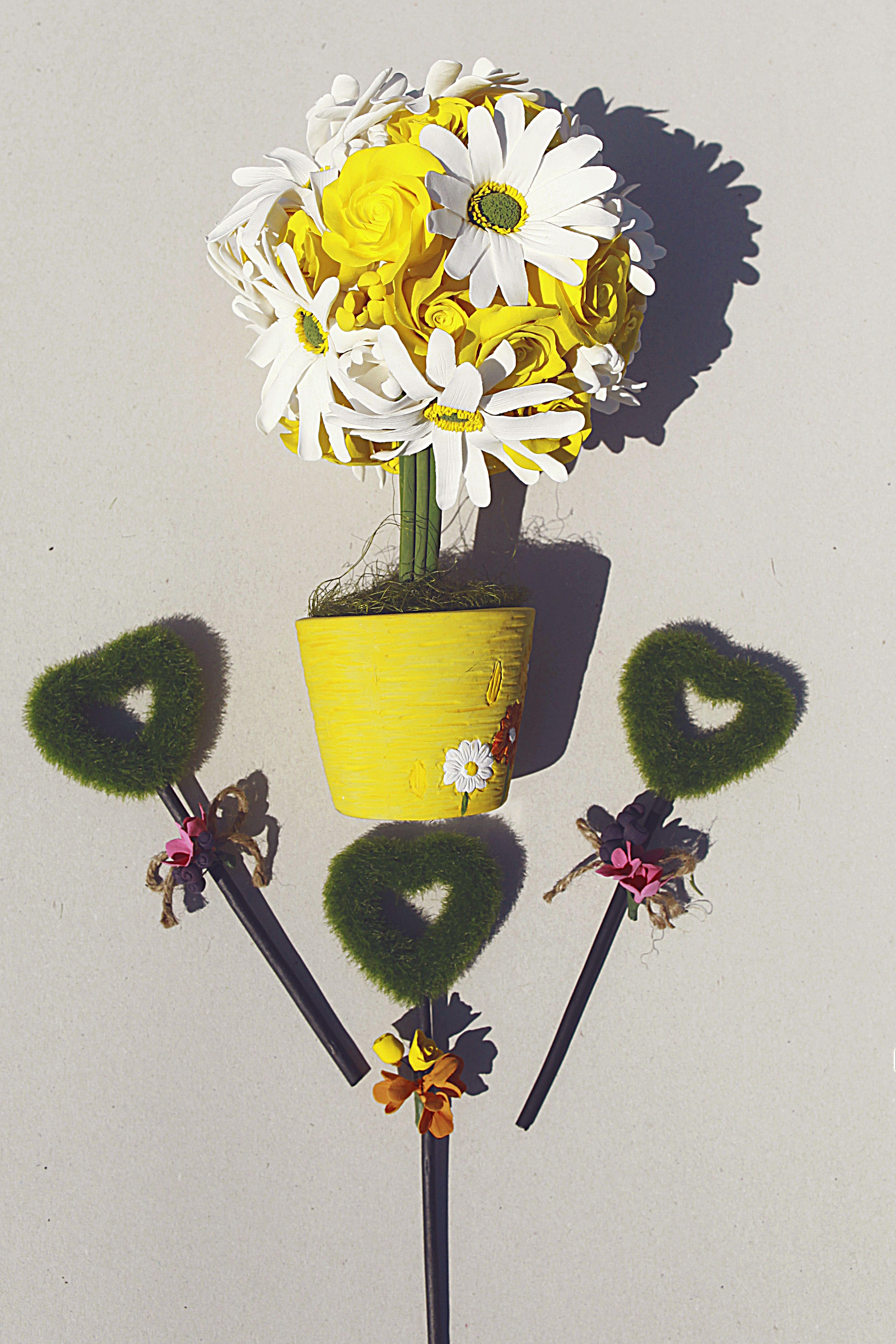 герберы белый розы люблюцветы декор всех маме желтый для дерево интерьер украшение подарок