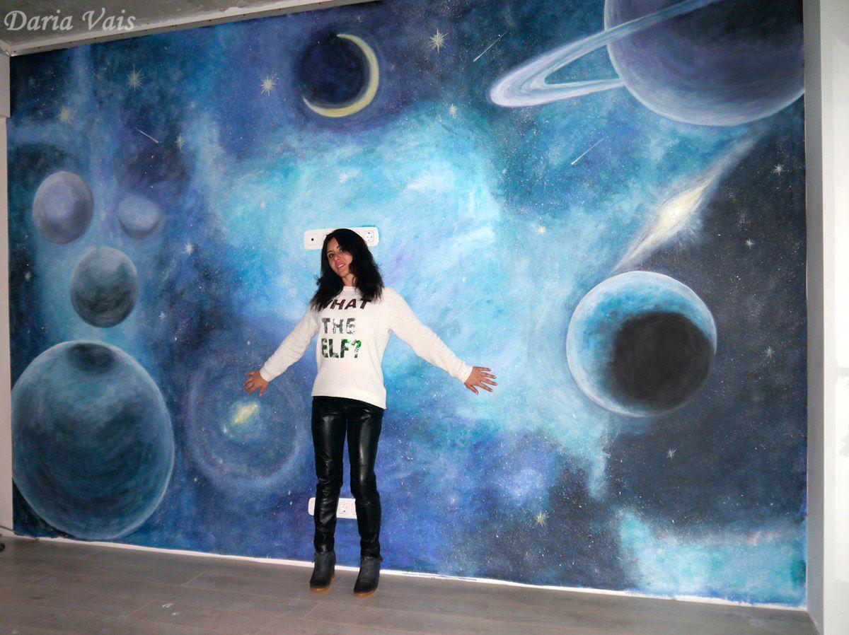 вселенная стена декор интерьер росписьстен космос дом