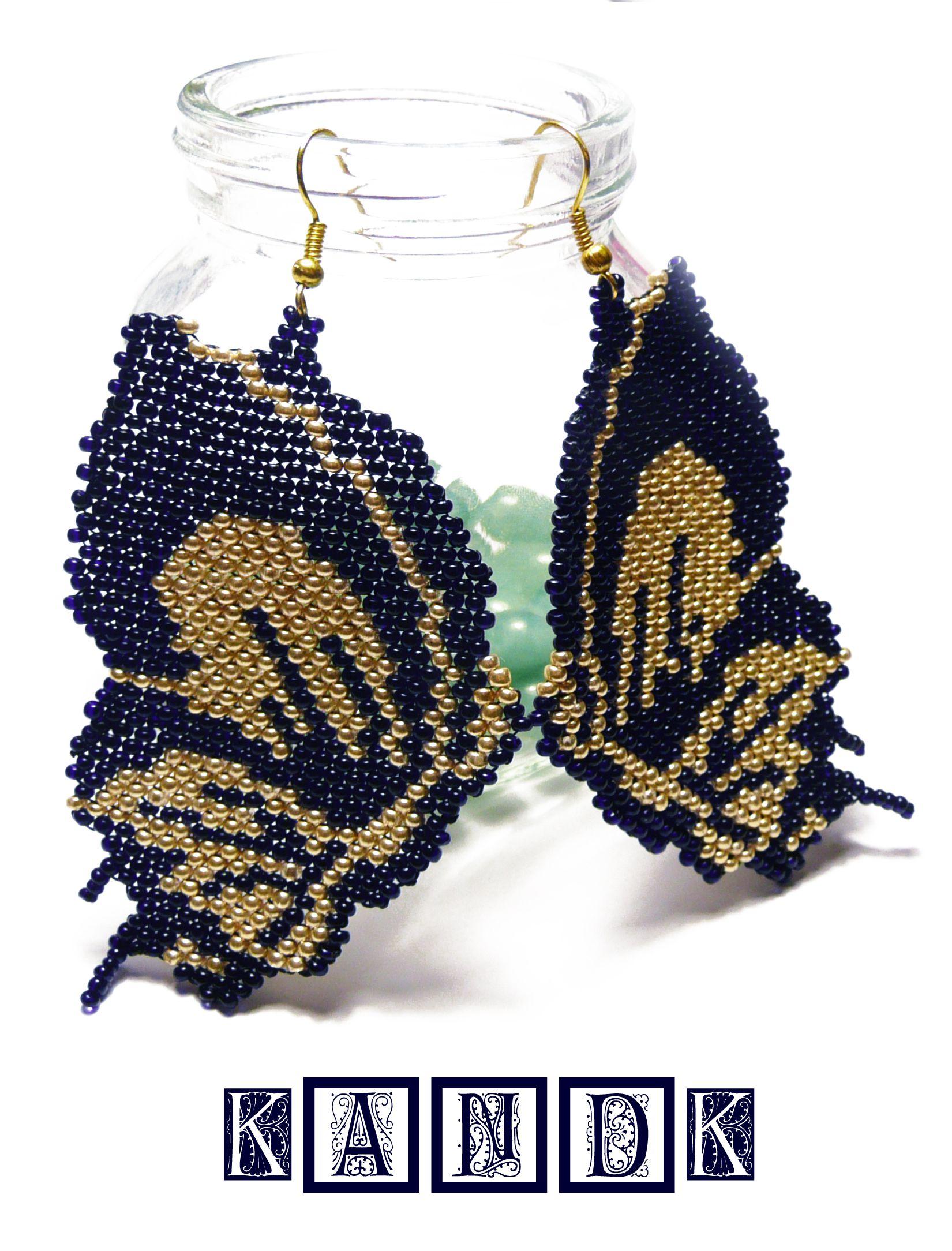 kandk крылья бабочки серьги бисер