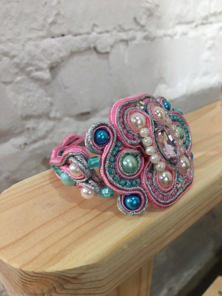 бижутерия винтаж украшение жемчуг сутаж браслет подарок