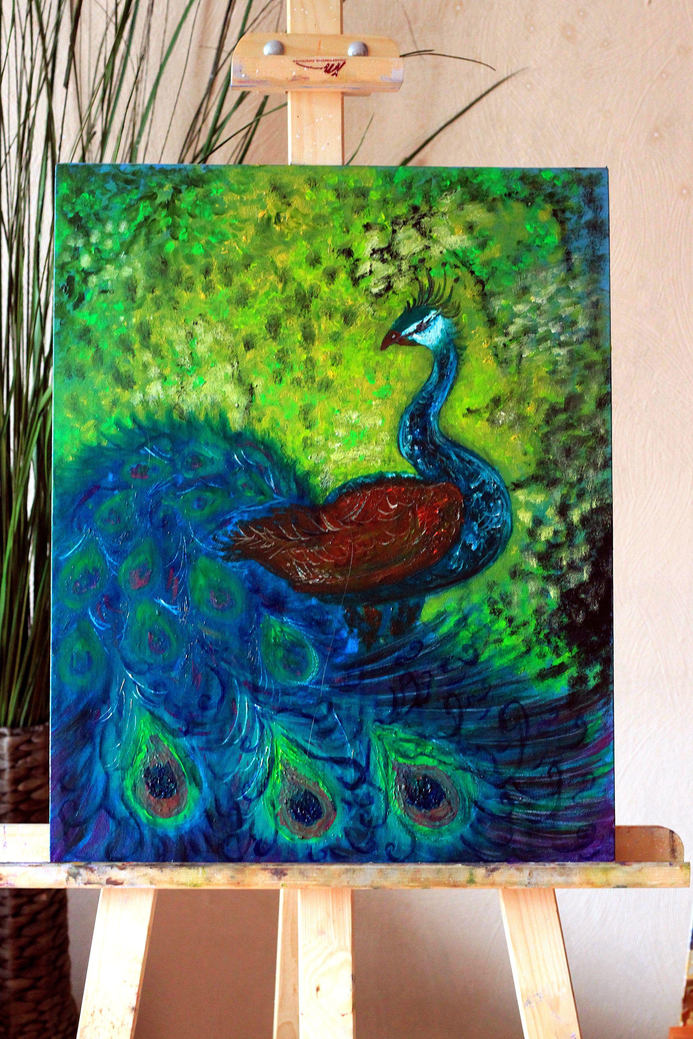 масло птица перья павлин акрил флюра флуоресцентный
