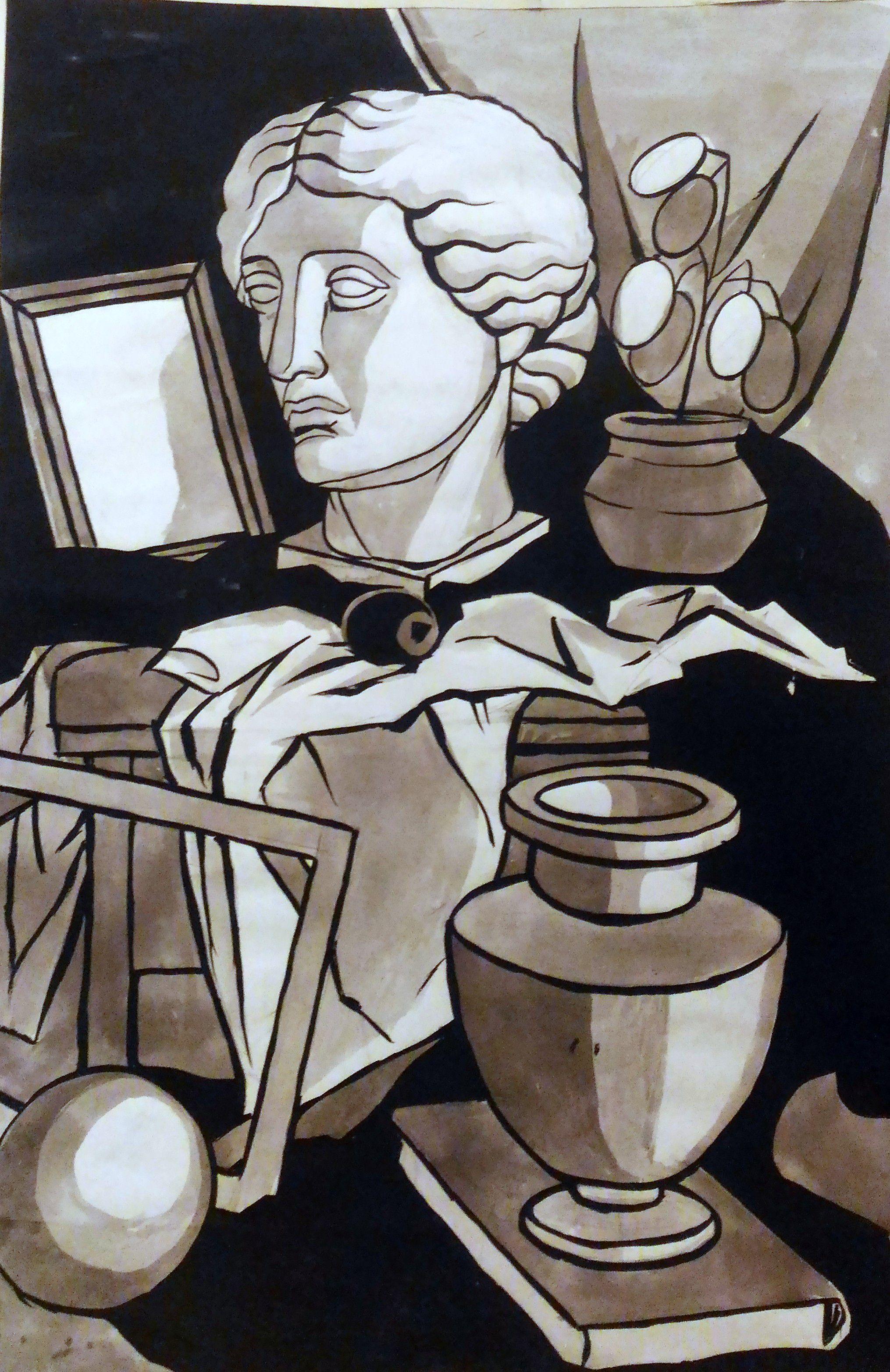 модели ватман венера богиня гипсовые античность тушь вазы драпировки живопись картины натюрморт