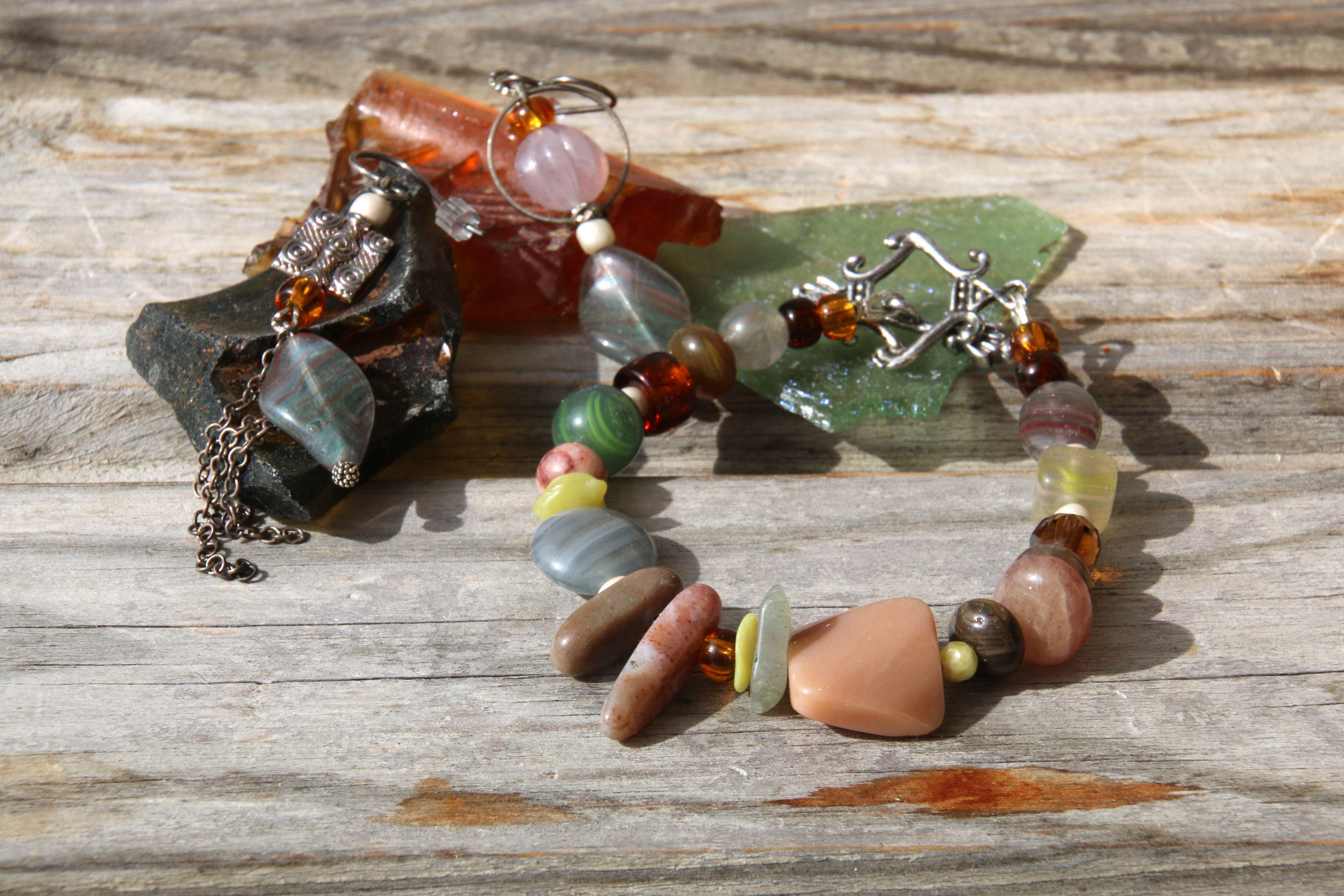 серозеленый стеклянный винтаж патина пыльнорозовый серьги браслет коричневый натуральные комплект прозрачный коньячный лесной зеленый камни