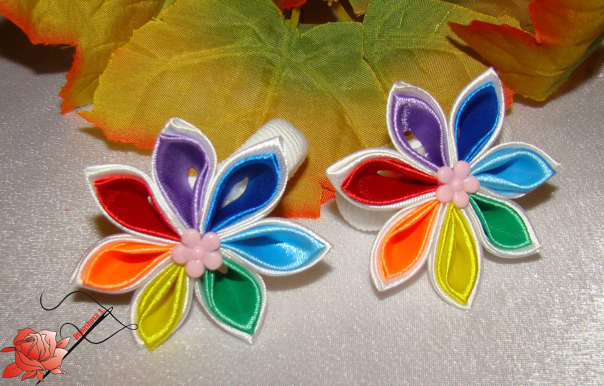 радуга лентыатласные резинкидляволос канзаши handmade дляпринцессы