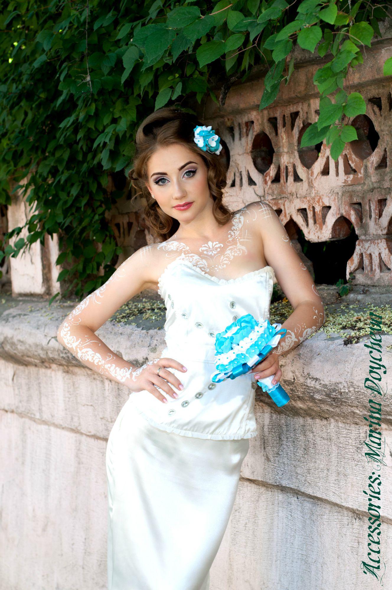 из фоамирана букет украшение волосы невесты ручной работы цветы в