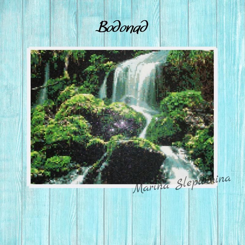водопад подруге цвет маме недорогой зеленый стразы недорогая учная любой природа работа ручная пейзаж лес подарок картина купить случай акриловые зелень