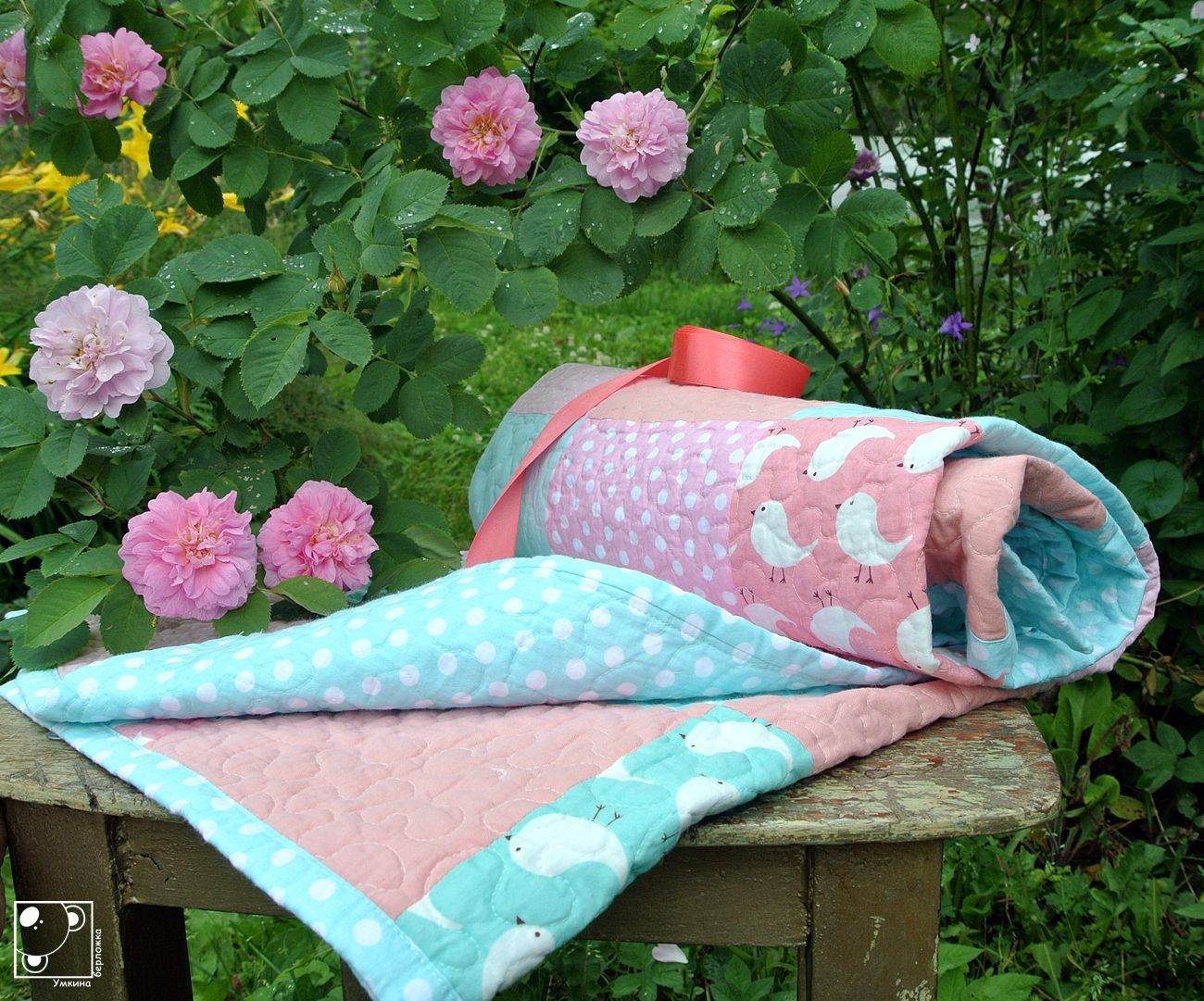 вкроватку мятный одеяло детскоеодеяло малышу детское пэчворк лоскутное розовый
