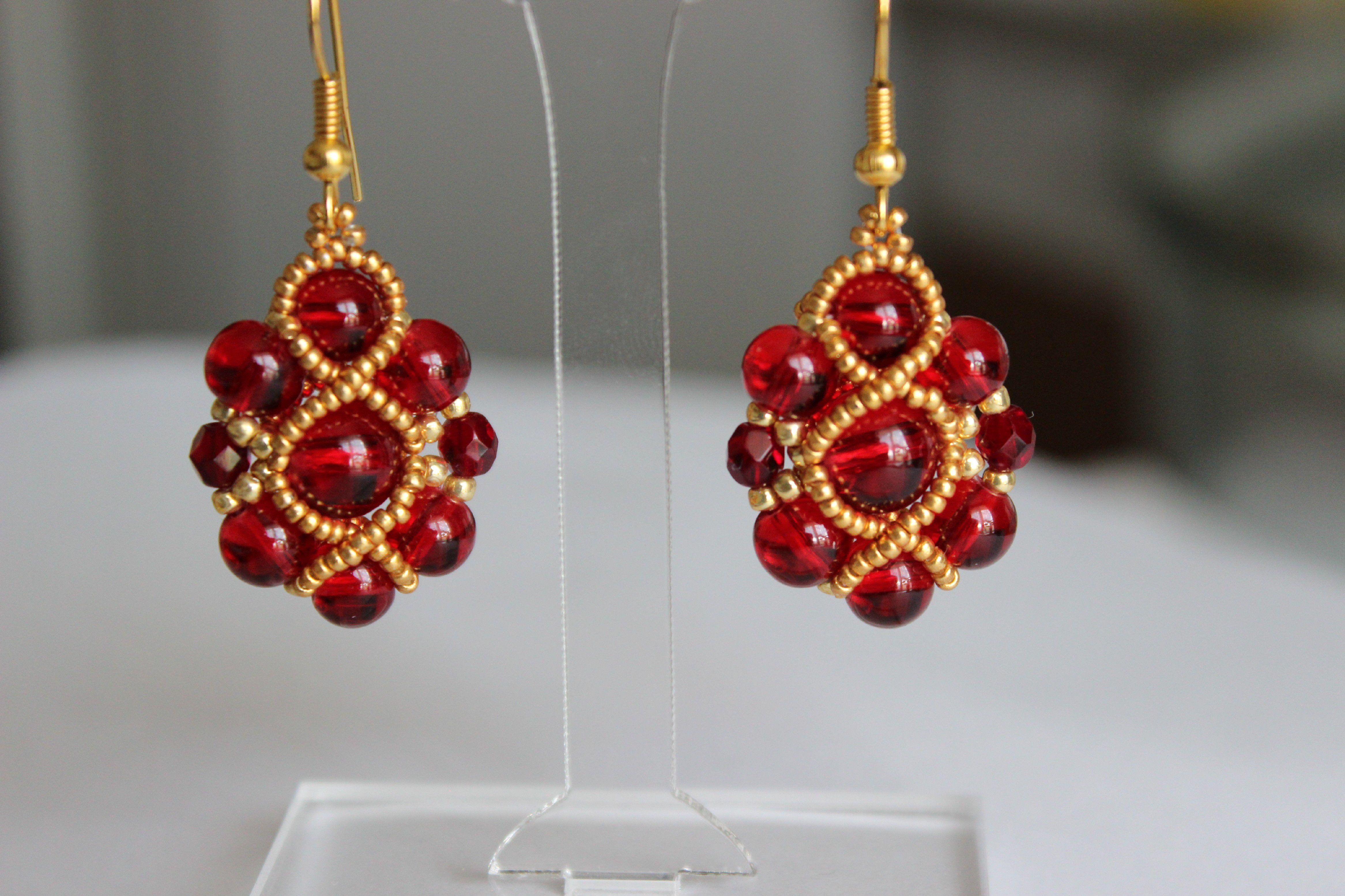 восточные золотой бусины украшения серьги бисер ручная яркие бижутерия работа красный