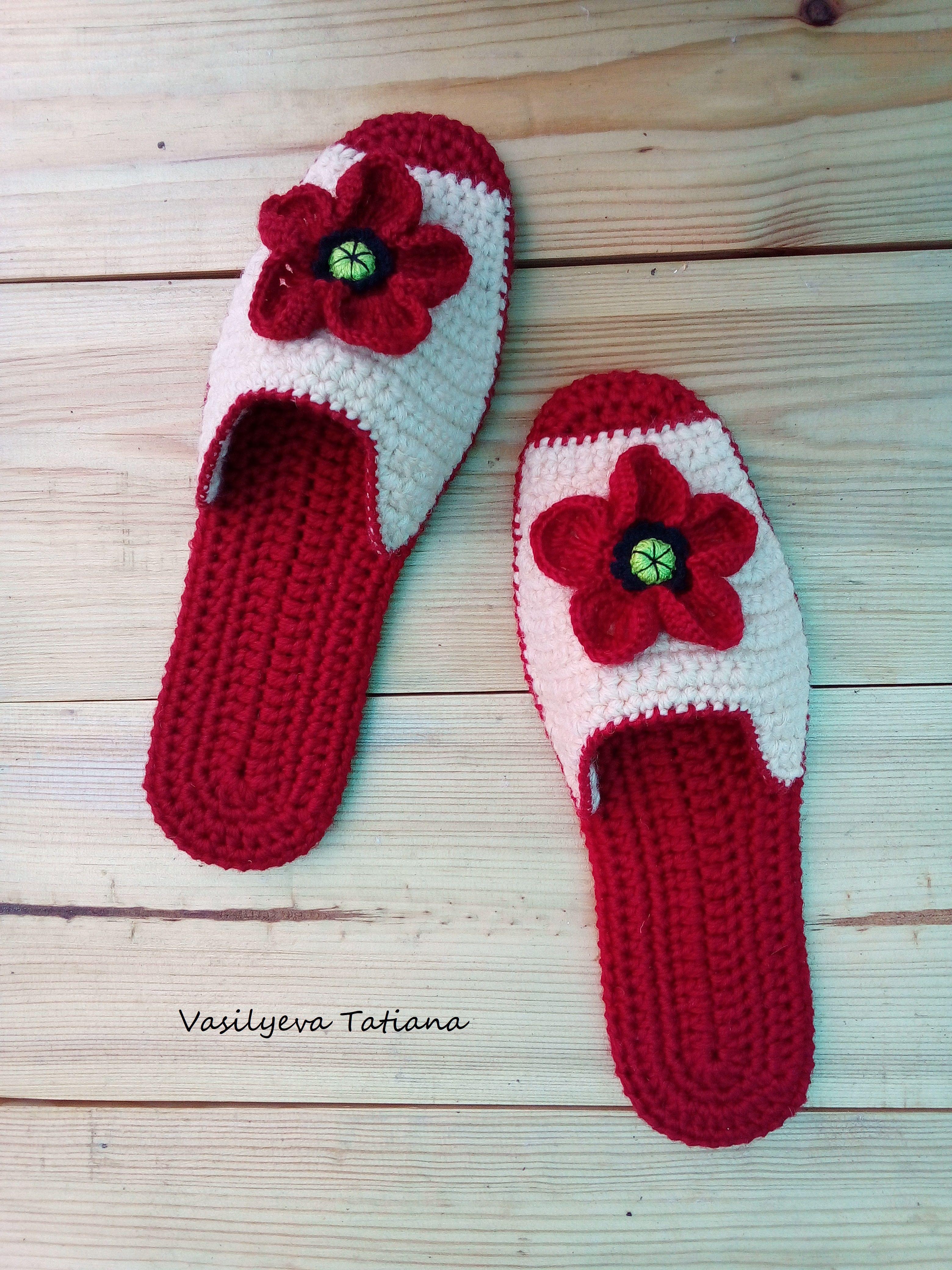 тапочки работы ручной домашняя обувь женские подарок вязаные