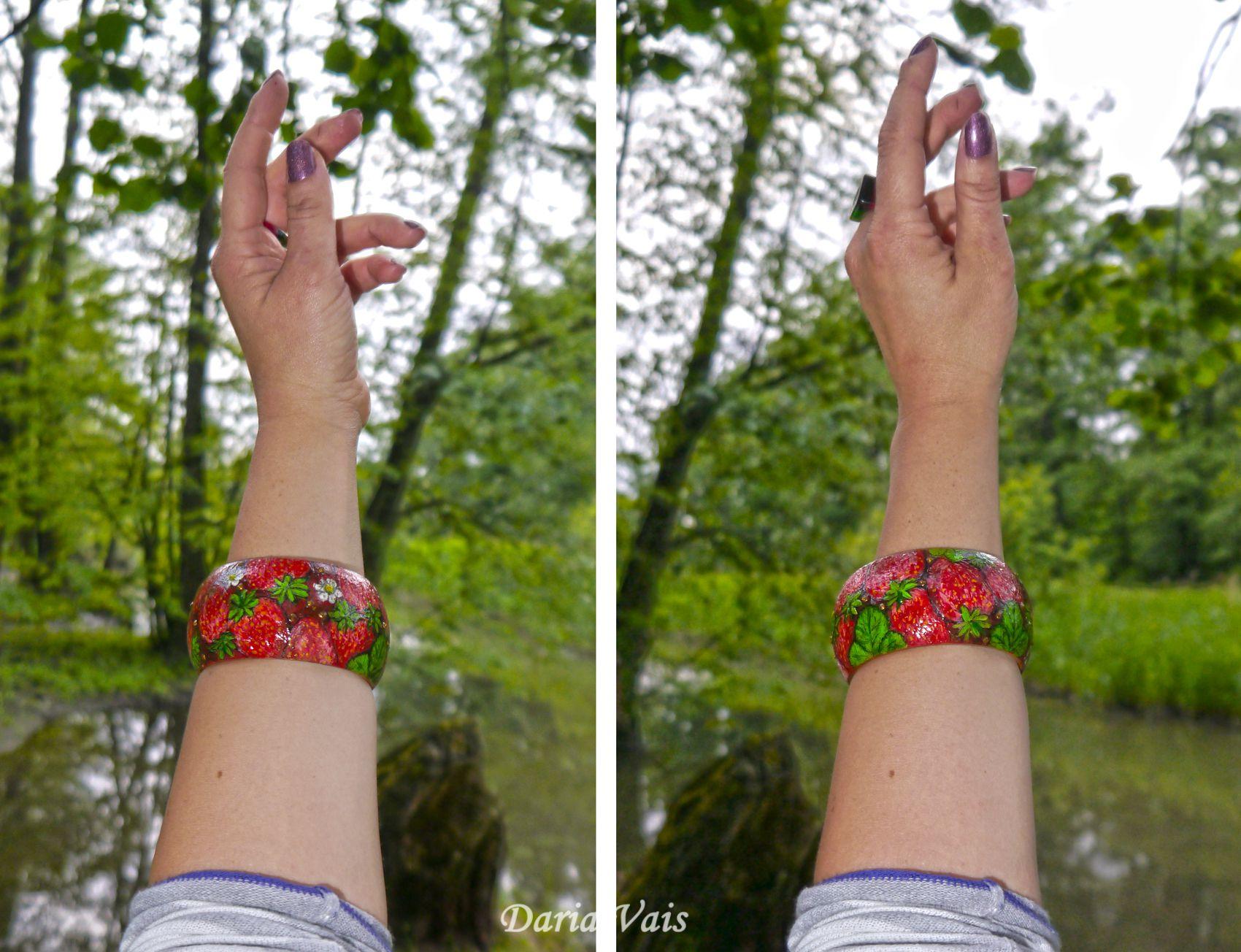 подарок браслет украшение лето деньрождение роспись клубника дерево