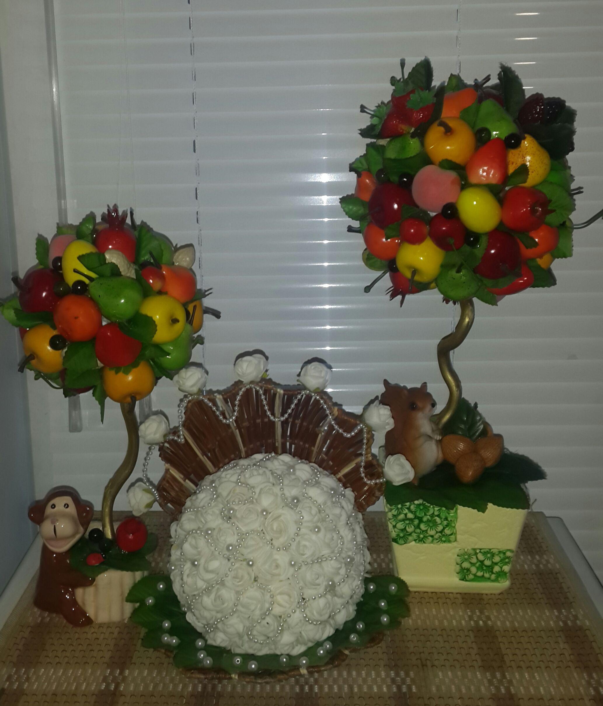 топиарий подарок работа ручная праздник ротанг повозка велосипед фрукты оригинальный