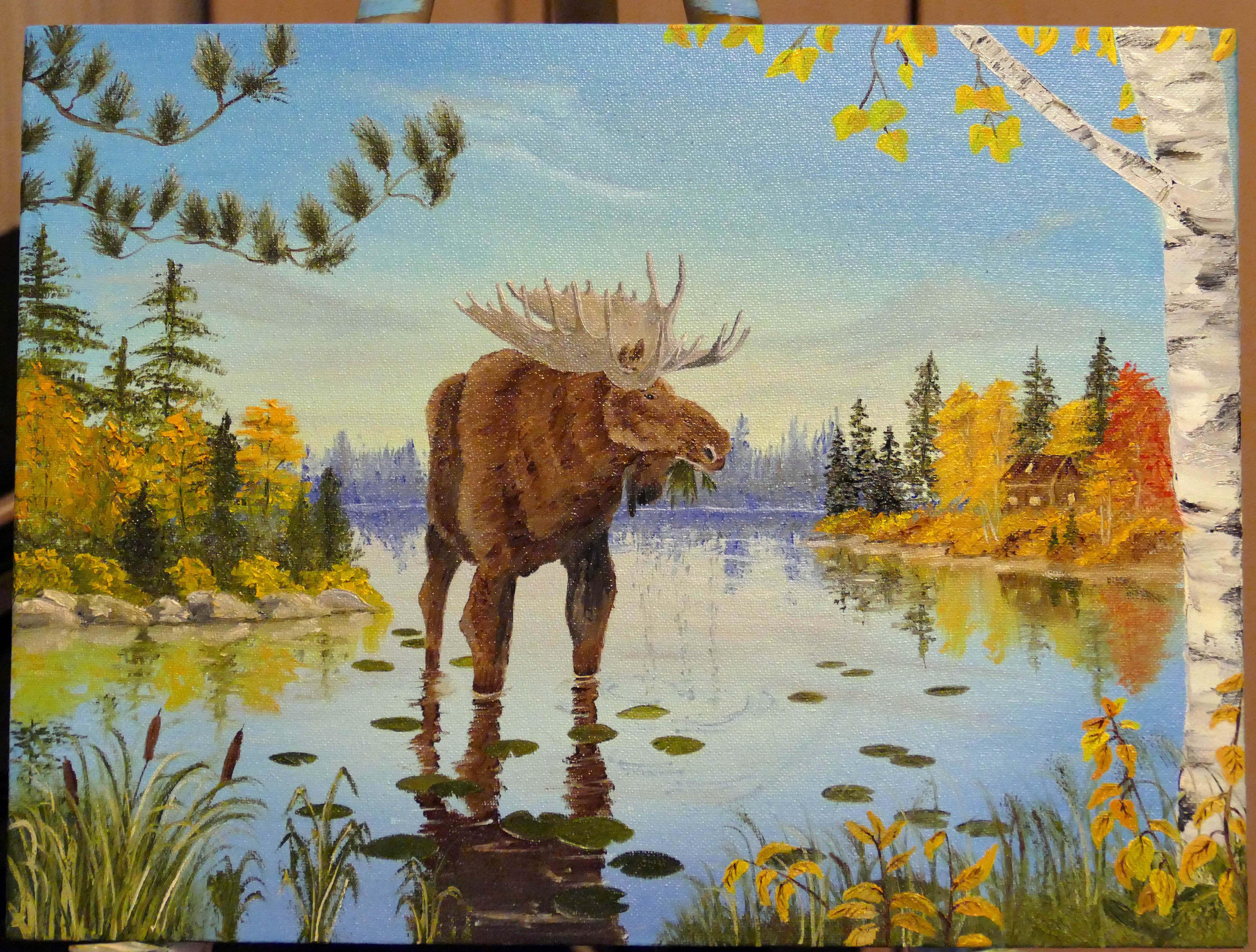 пейзаж осень живопись лось картина