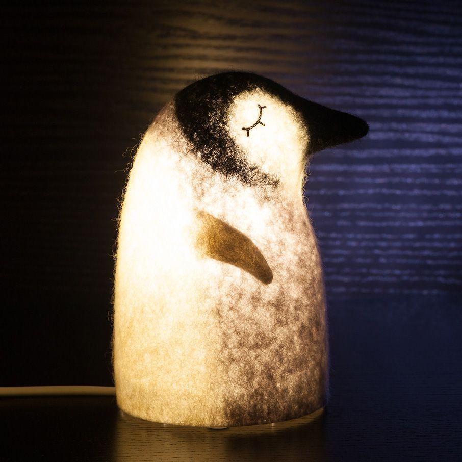 войлок черный валяный пингвин интерьер ночник светильник серый освещение белый