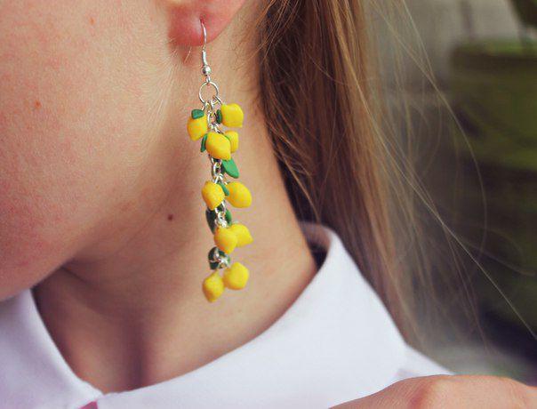 лимон браслет серьги работа браслеты ярко ручная комплект украшение лето желтый