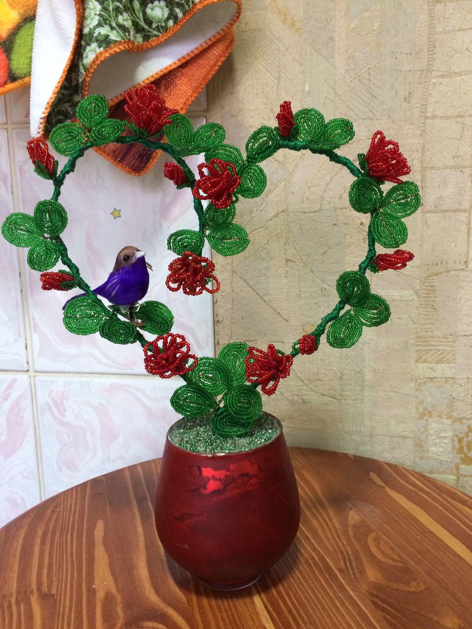 бисер сердце роза подарок