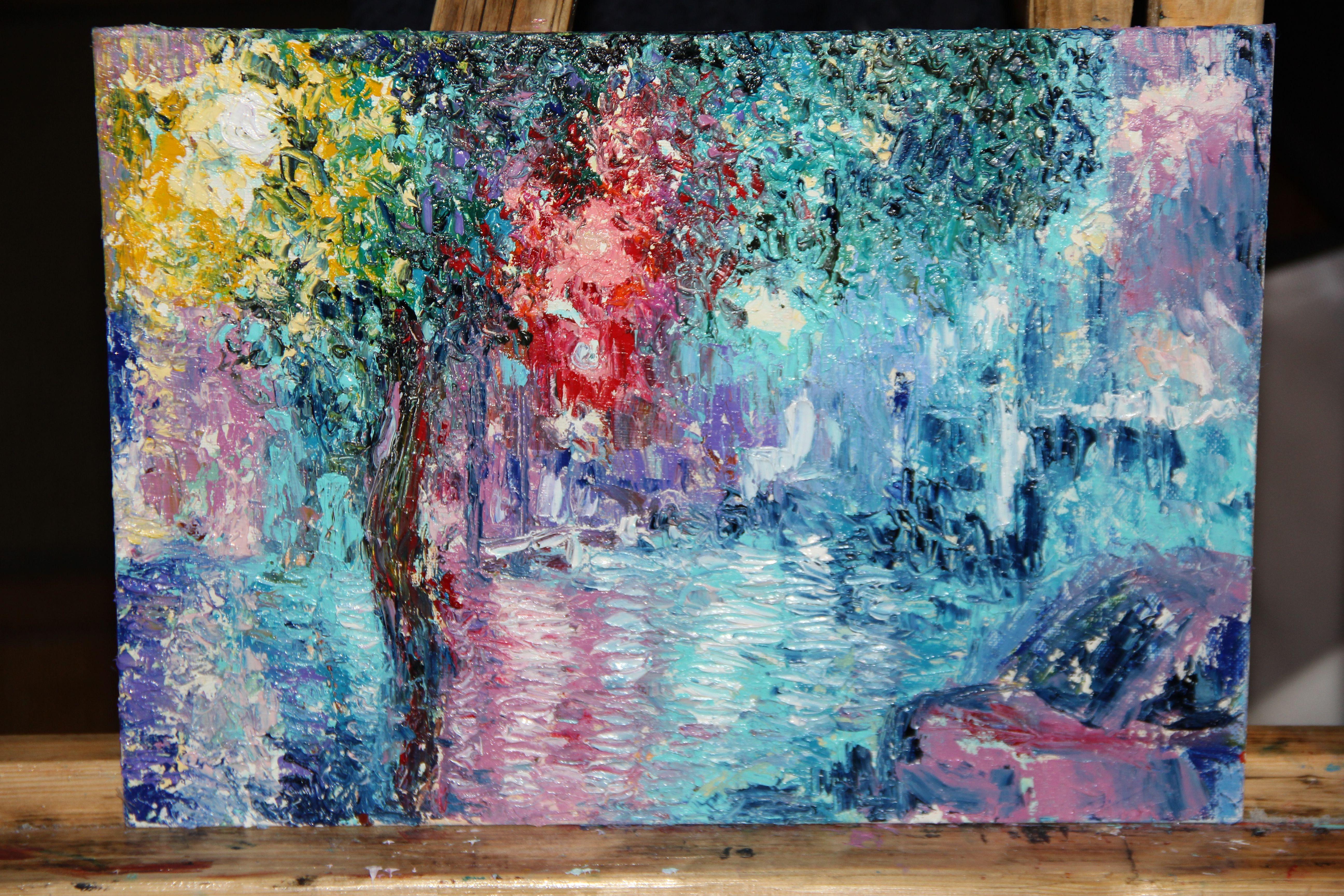 холст парк ночь город абстракция картина осень масло мастихин живопись улица пейзаж