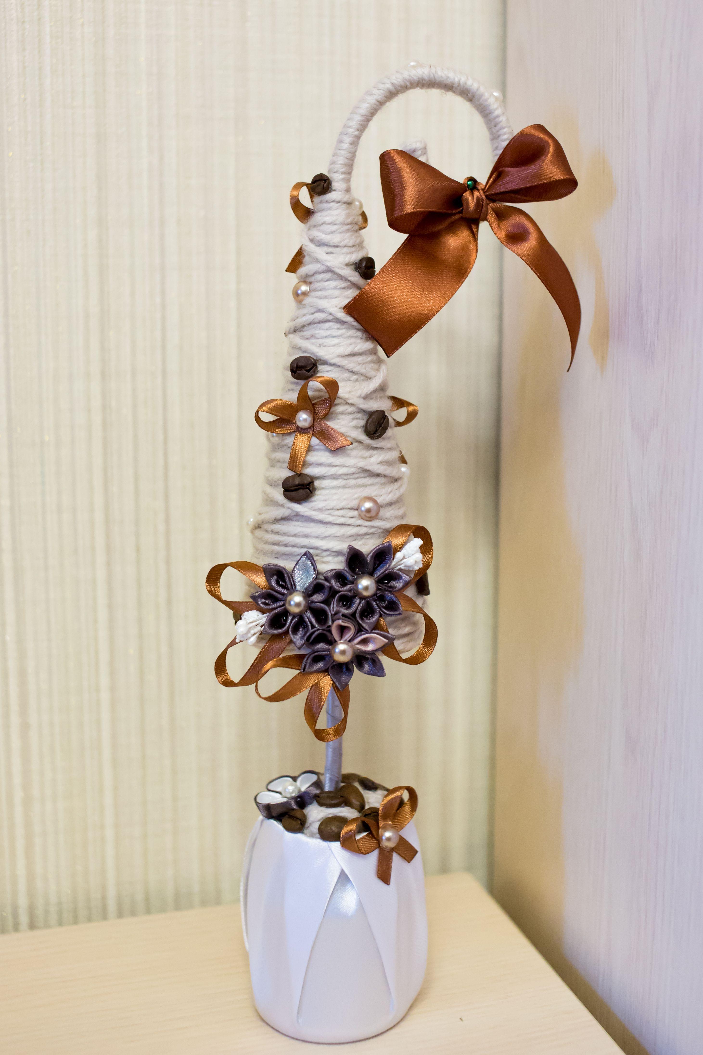 коричневая красивая декор кофе атлас елка хэнд-мейд модная елочка