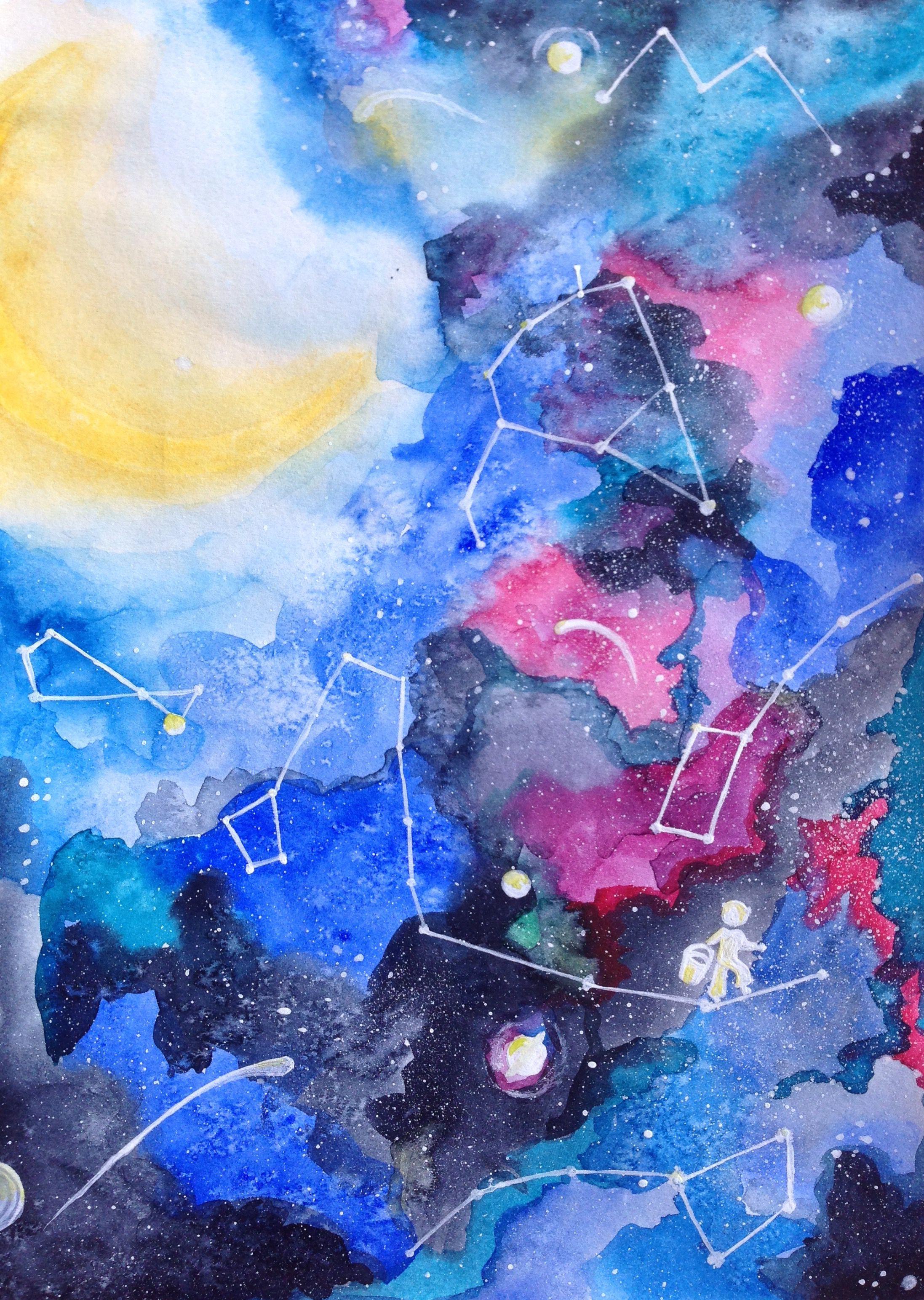 небо созвездия открытка космос акварель