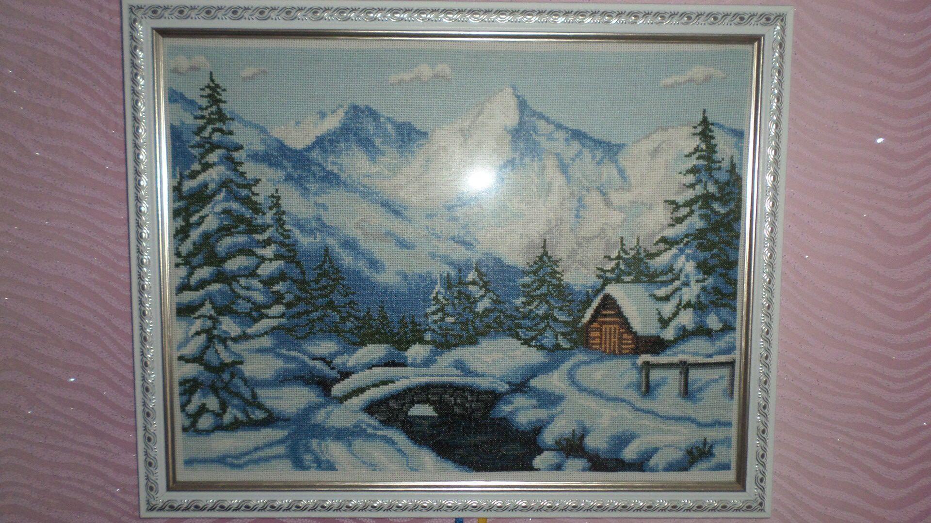 снег река картина зима горы дом мост