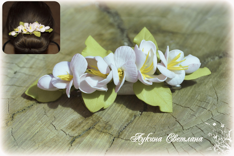 из фоамирана заколка с цветами
