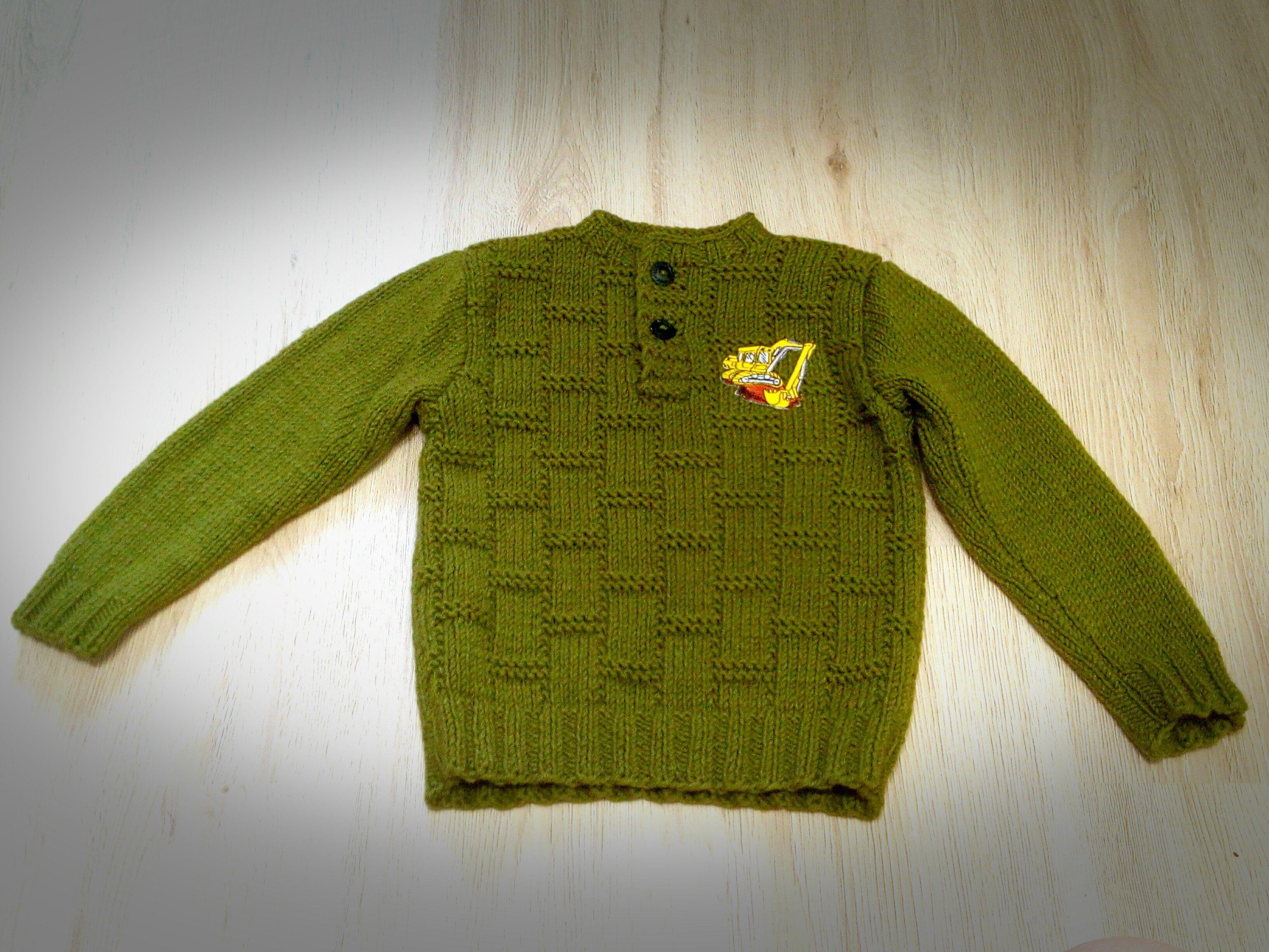 джемпер длямальчика теплый вязание экскаватор ручнаяработа акрил шерсть детям хаки одежда спицами