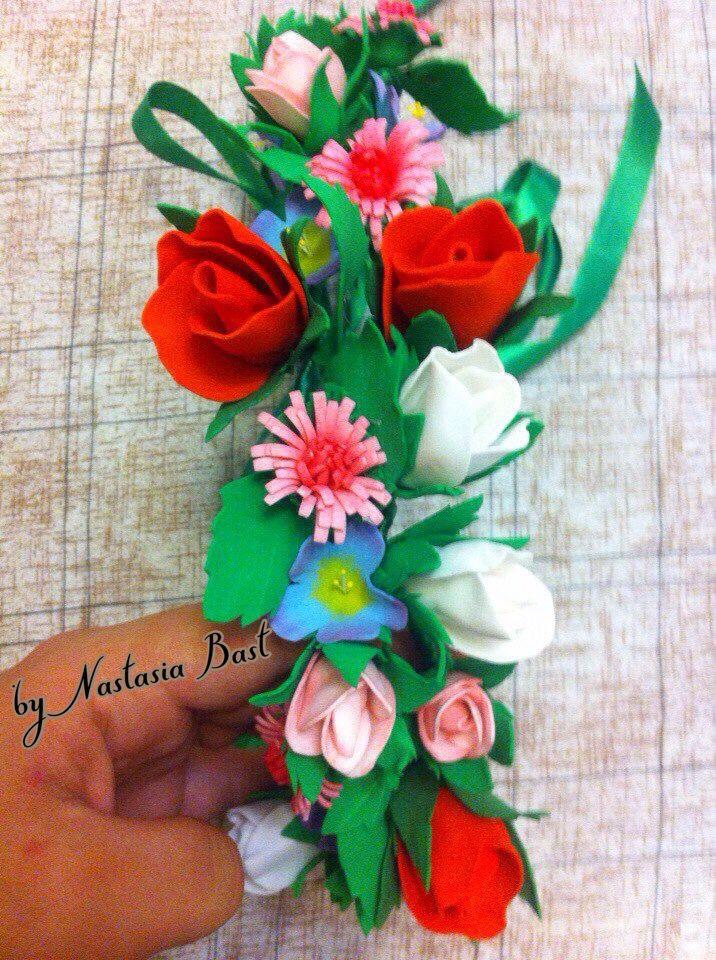 венок цветы аксессуар наголову фоамиран украшение ручнаяработа