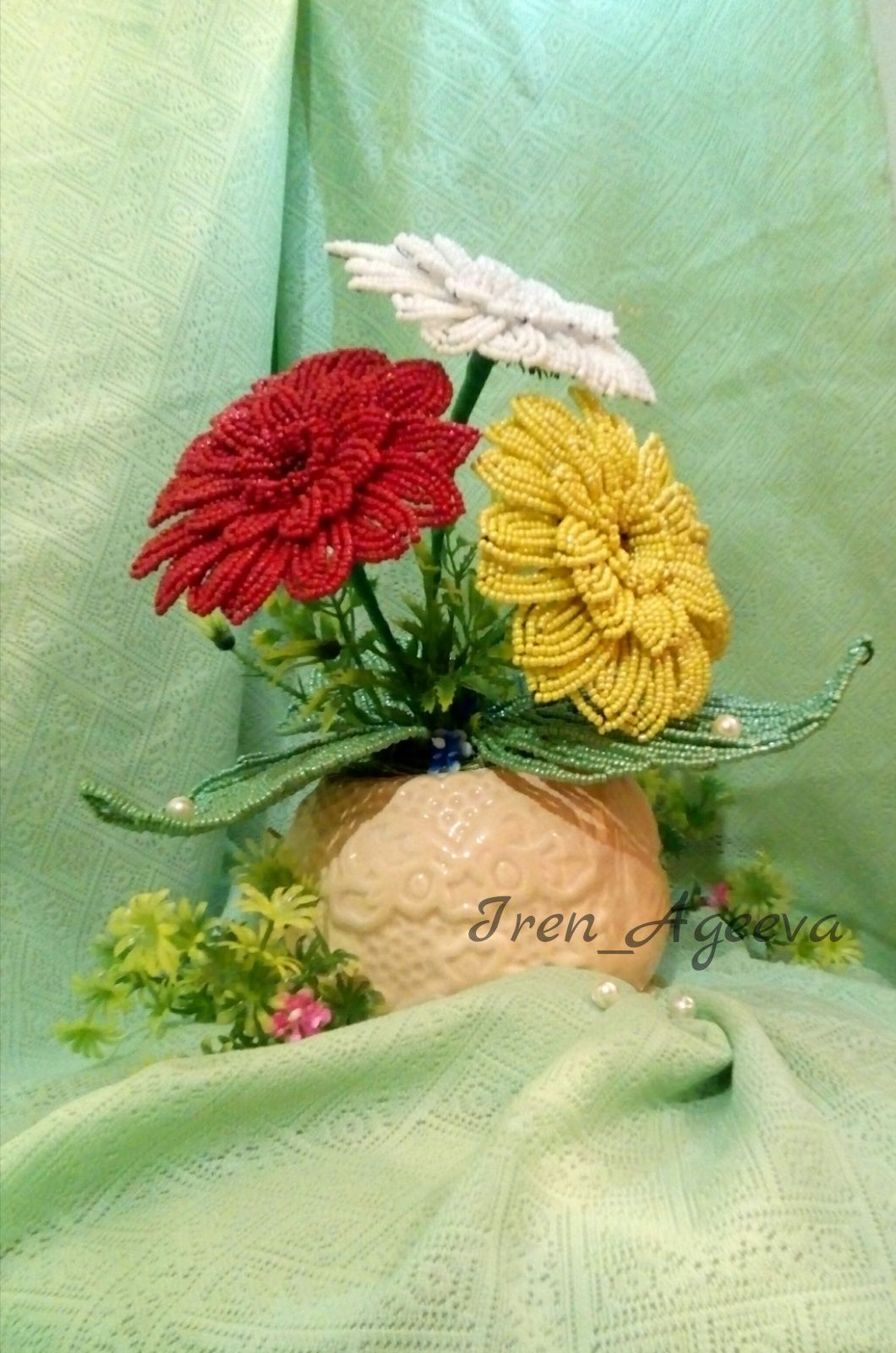 день рождения бисера юбилей бисер сделано ручная герберы праздник любовью работа подарок цветы