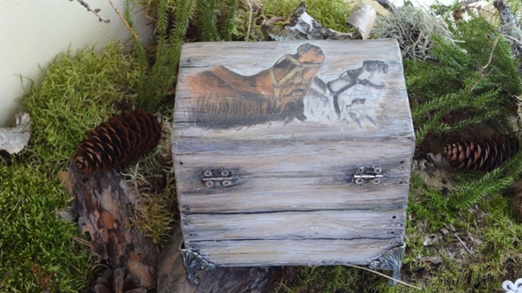 старинная лошади шкатулка ручной старого дерева старину работы имитация под