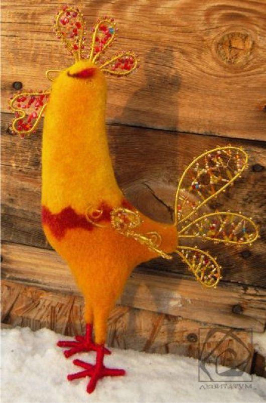 сухоеваляние игрушка бисер золотой петушок петух валяниеизшерсти