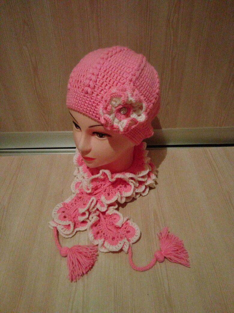 handmade шарф комплект назаказ крючком шапка ручнаяработа длядетей