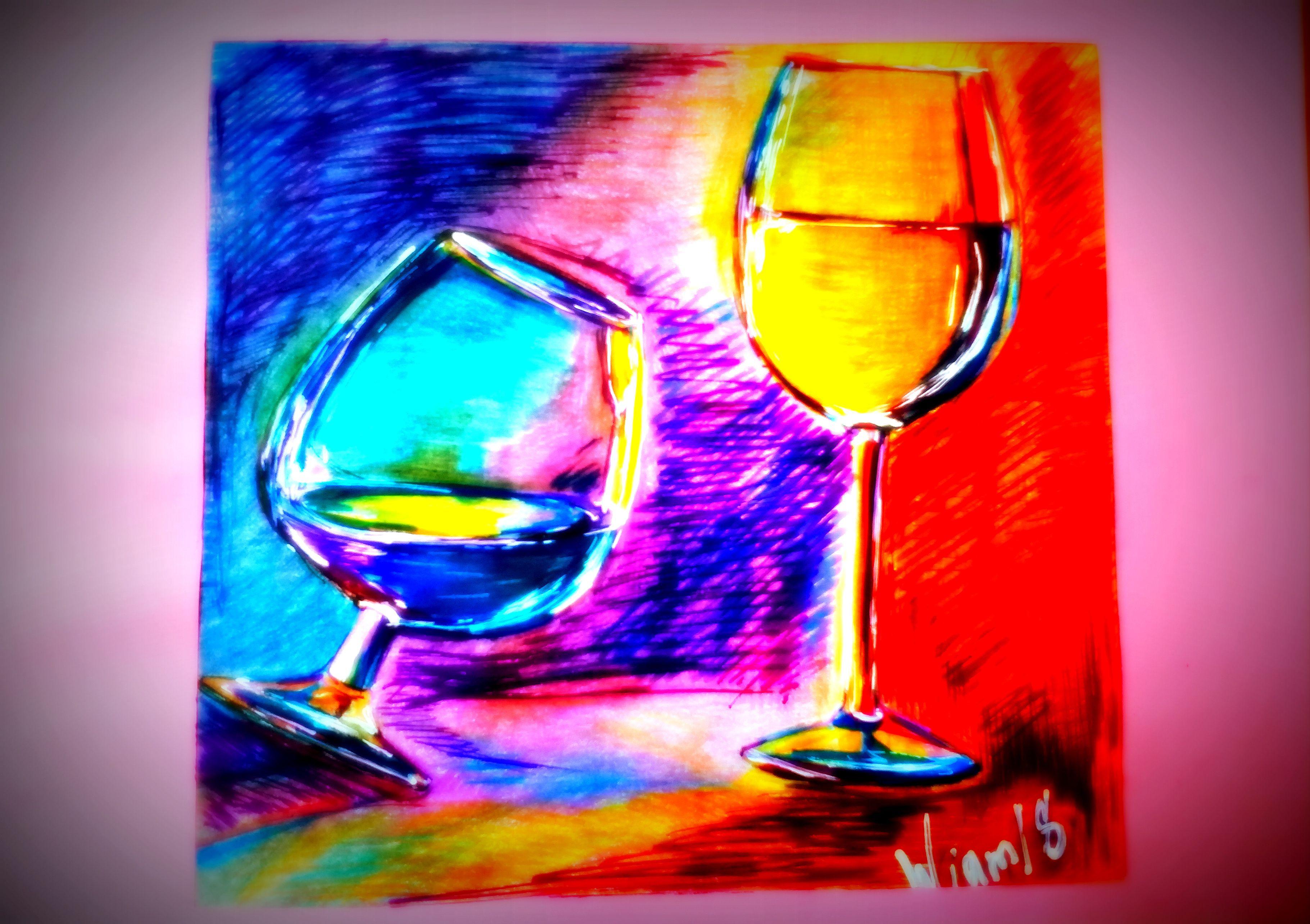 вина бокал свет текло цвет рисунок карандаши вино цветные