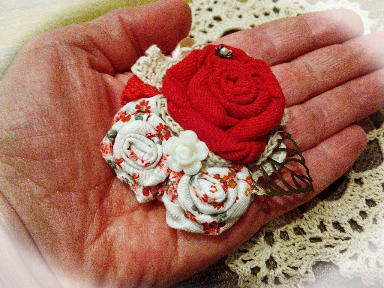 руками авторская 100 работа брошь цветок своими текстильная