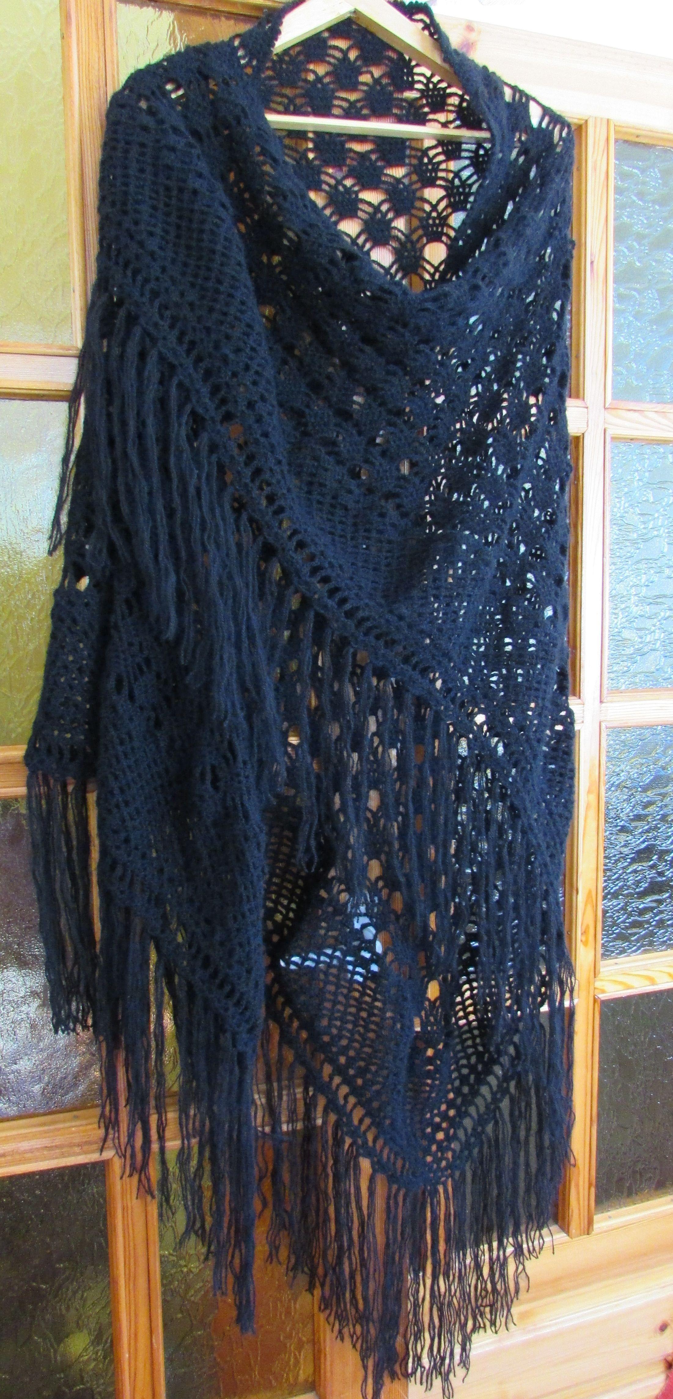 шальшаль крючкомшалишаль ручной работышаль вязаннаяшаль подарокажурная темносиняяаксессуары handmade