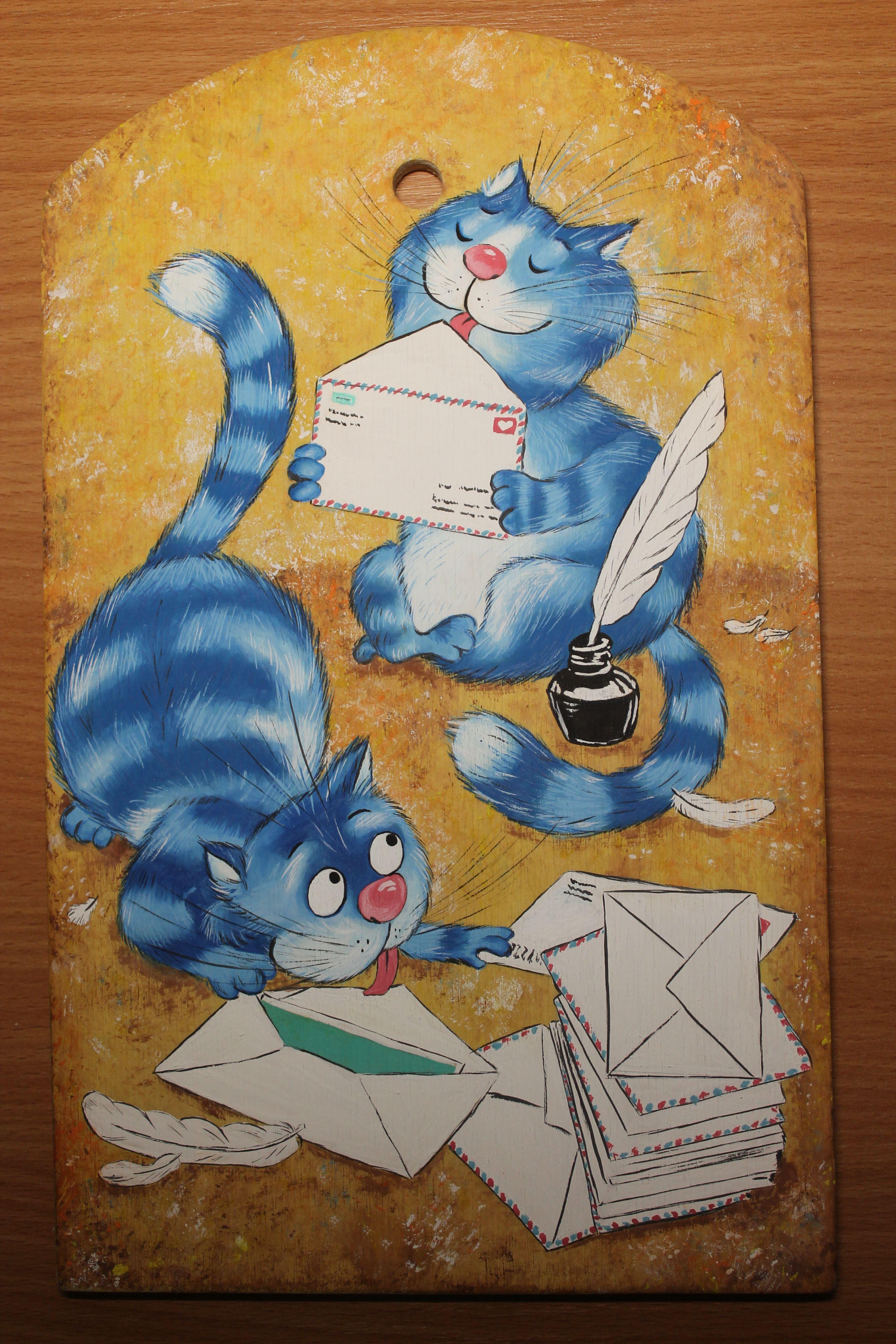 назаказ доска ручнаяработа подарок синиекоты