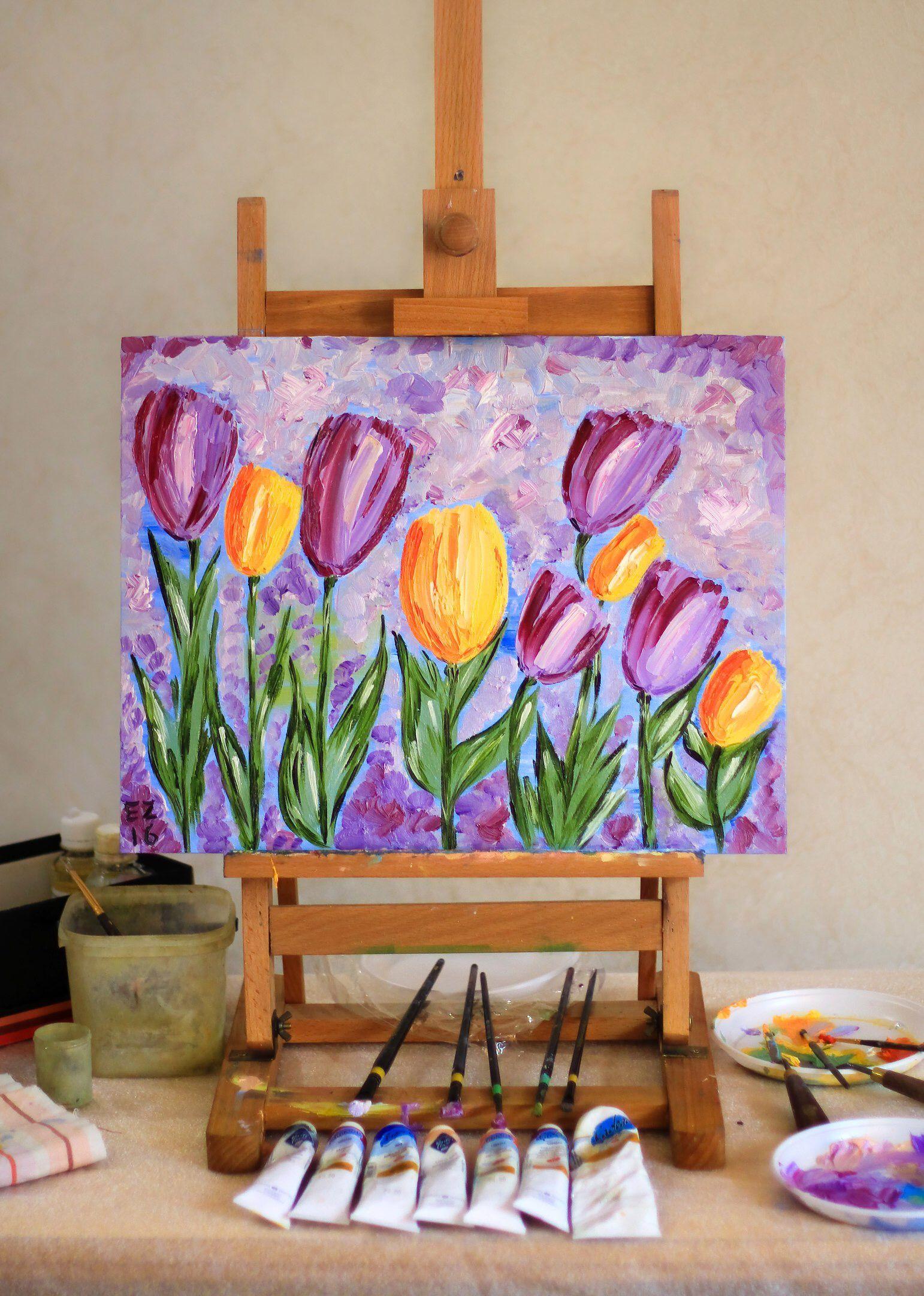 маслом подарок картина тюльпаны цветы